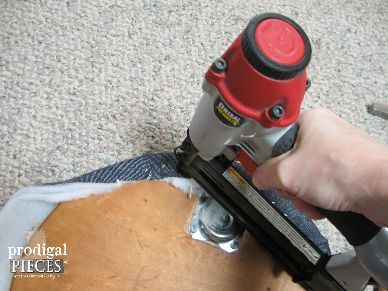 Stapling on Upholstery to Footstool | Prodigal Pieces | www.prodigalpieces.com
