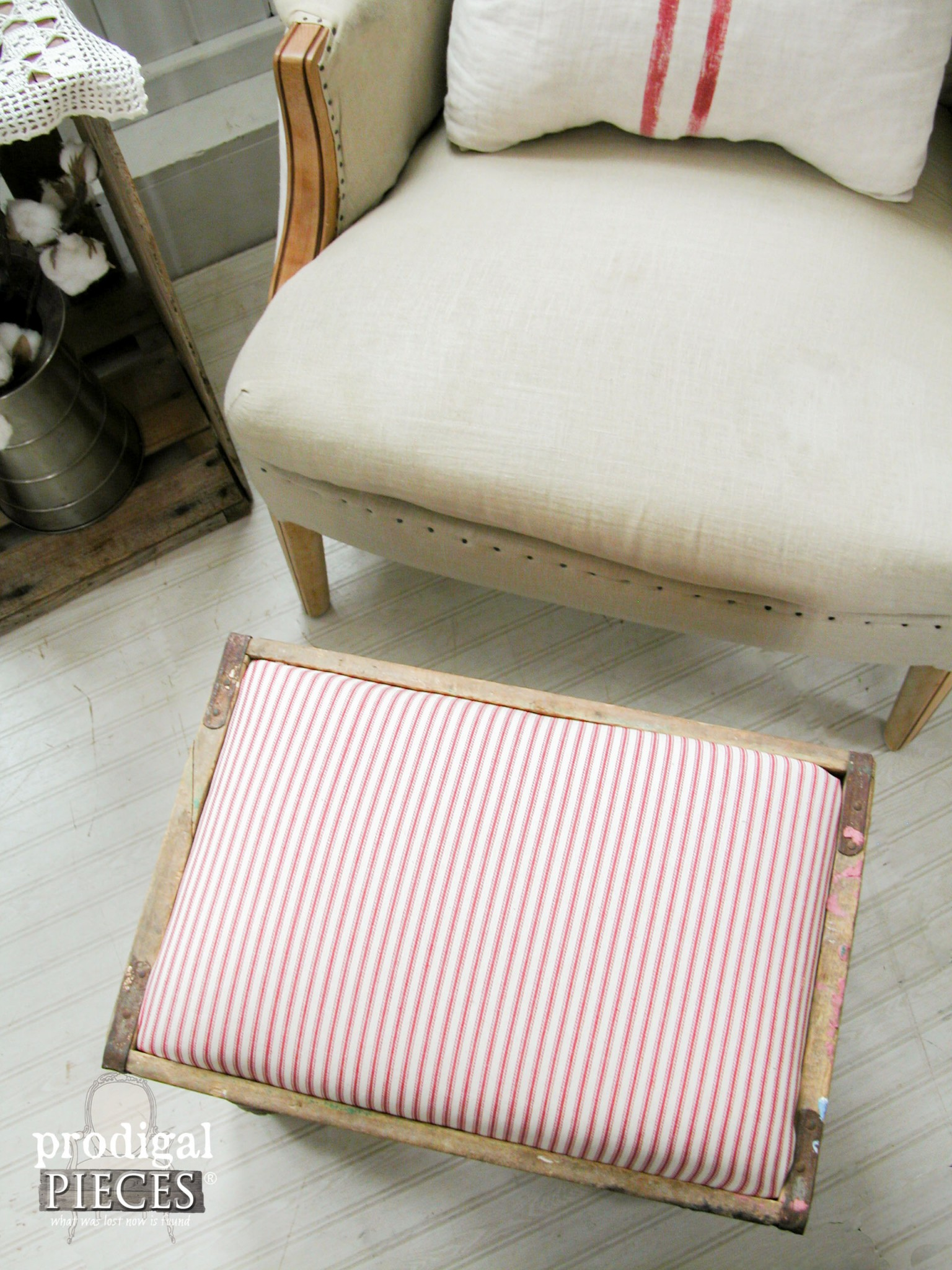 Red Ticking Upholstered Foot Stool by Prodigal Pieces | www.prodigalpieces.com