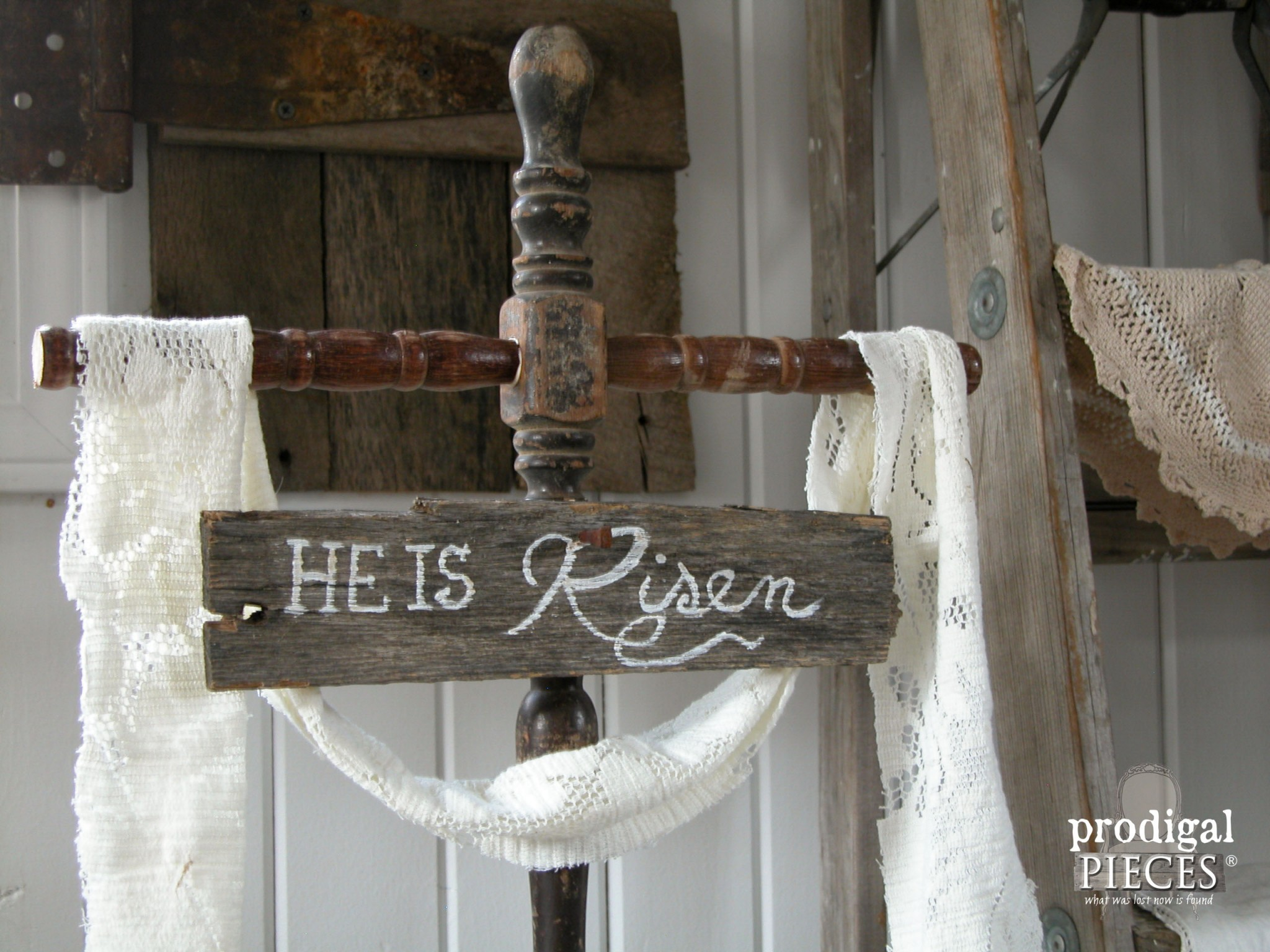 """He is Risen"" Repurposed Easter Cross by Prodigal Pieces 