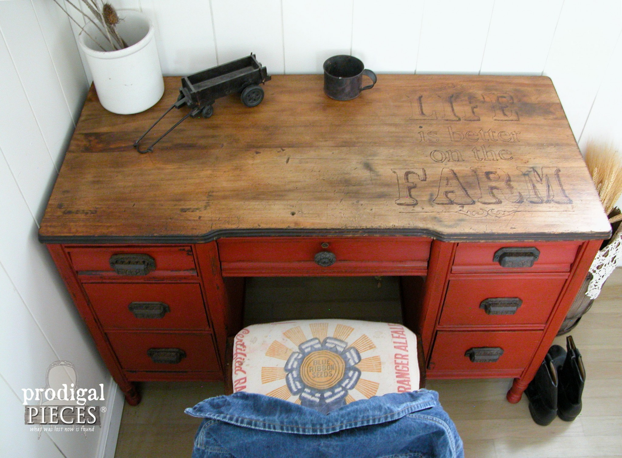 Rustic Farmhouse Desk with Woodburned Top by Prodigal Pieces | www.prodigalpieces.com