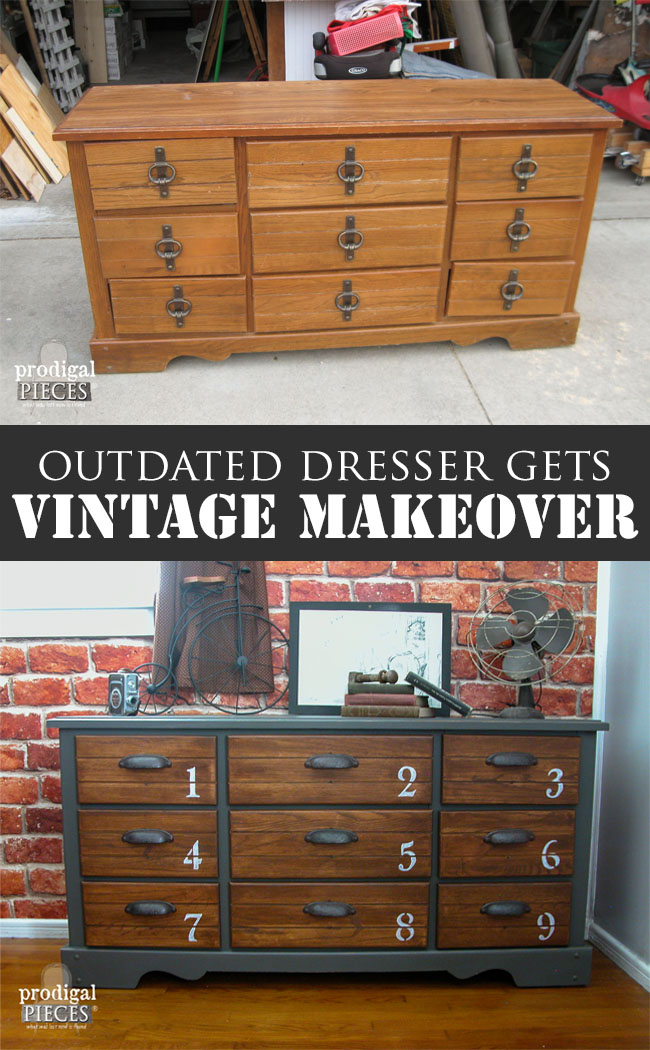 Outdated Vintage Dresser Gets Industrial Makeover by Prodigal Pieces | prodigalpieces.com