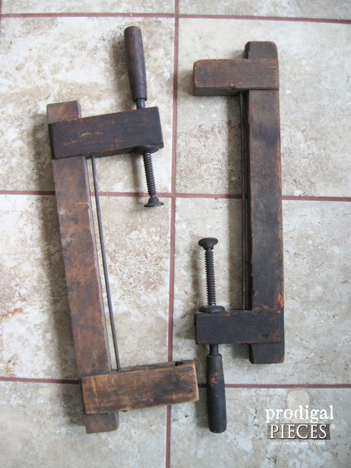 Antique Farmhouse Wooden Clamps Repurposed by Prodigal Pieces | www.prodigalpieces.com