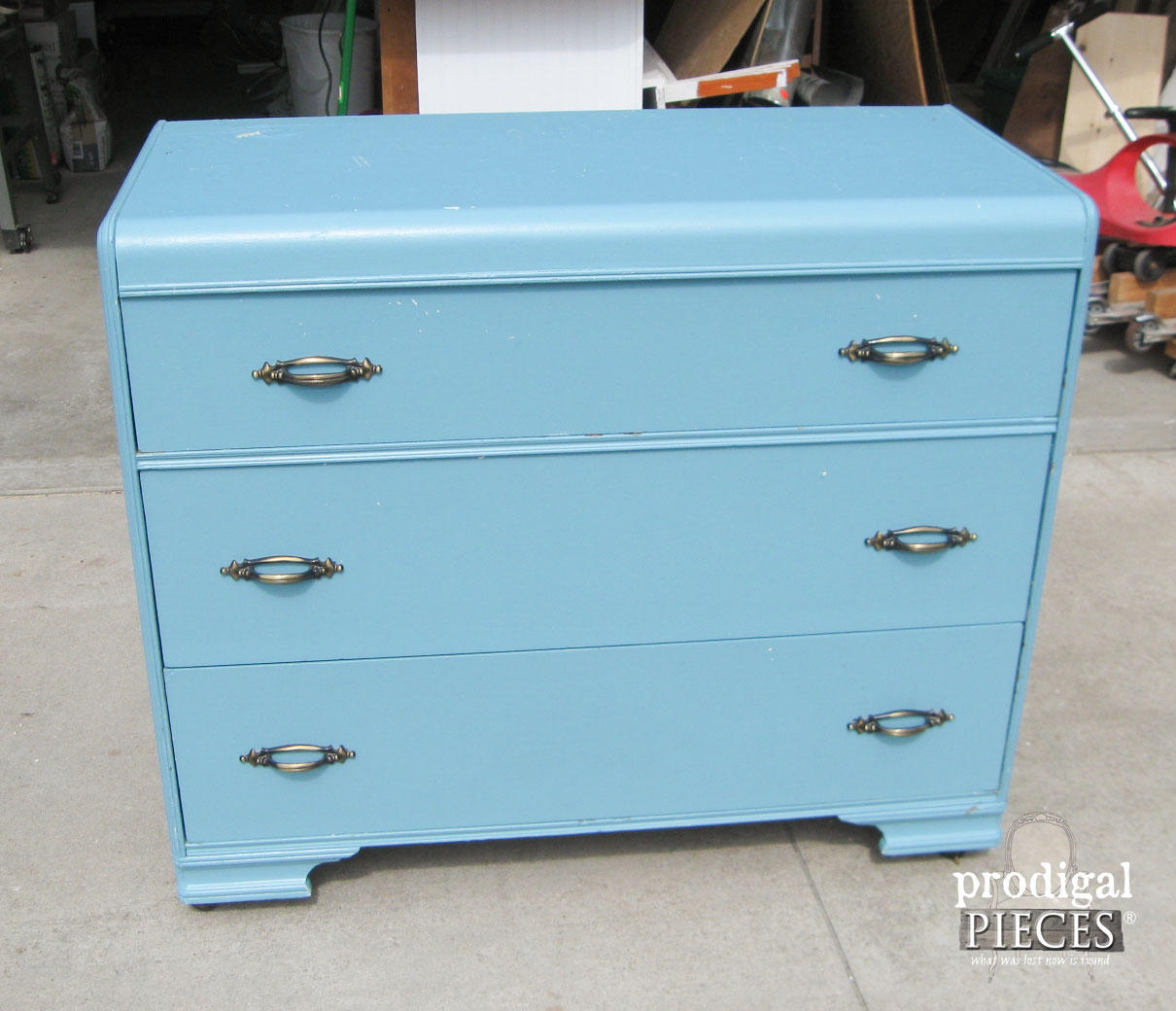 Blue Art Deco Chest Before Makeover by Prodigal Pieces | www.prodigalpieces.com