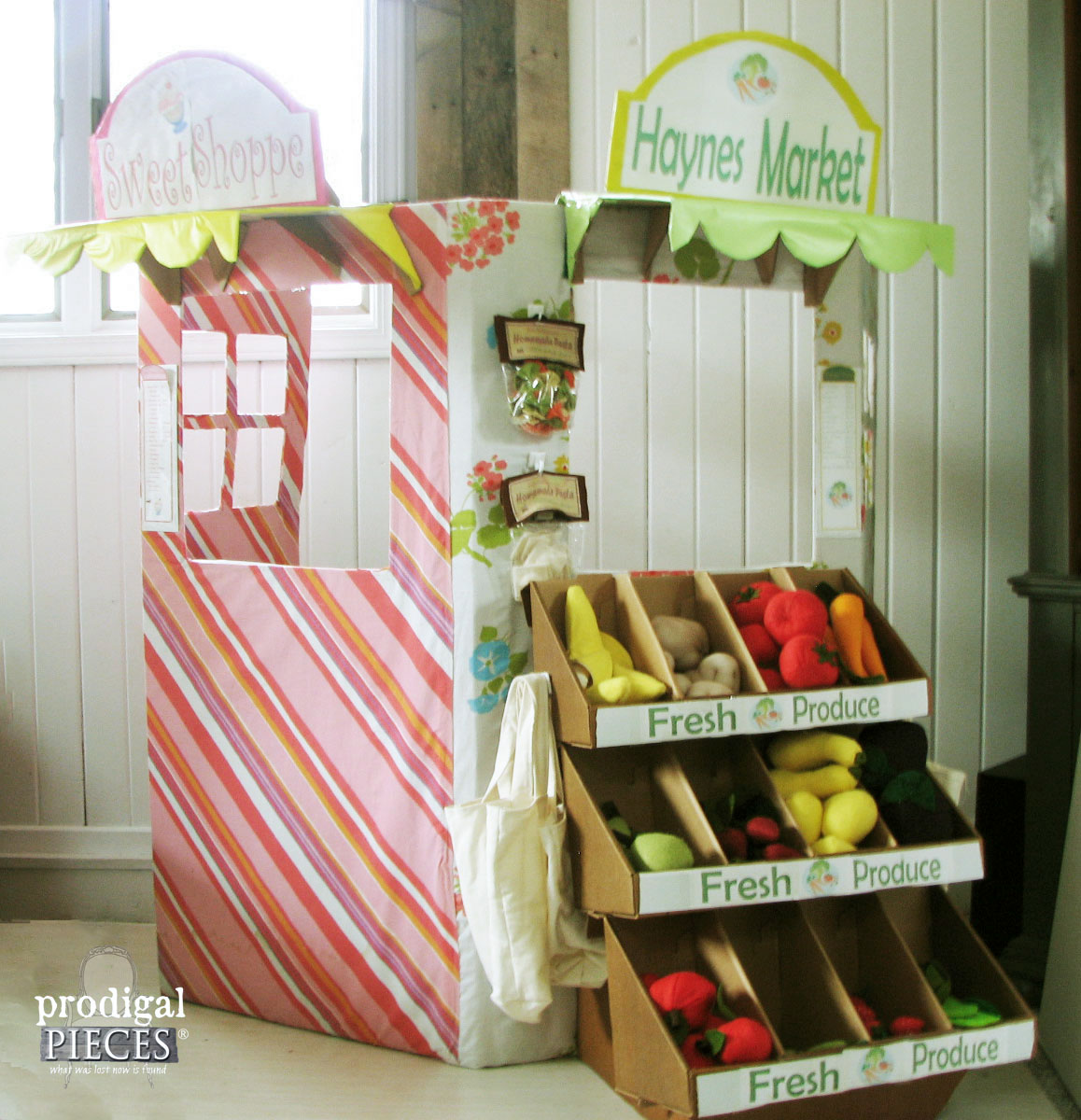 Handmade Cardboard Snack Stand and Farmer's Market by Prodigal Pieces | www.prodigalpieces.com