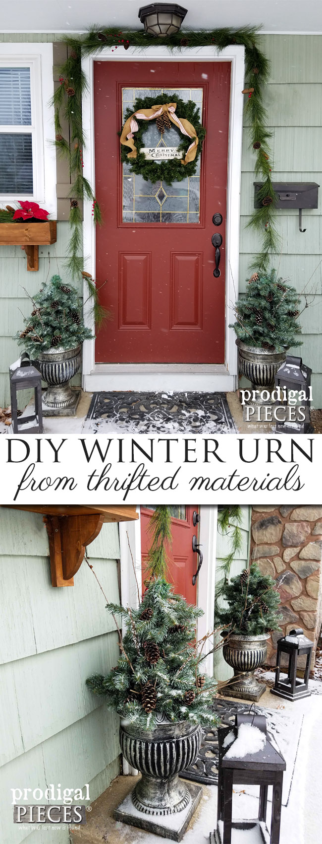Create these Winter Urns from Thrifted and Repurposed Materials. Budget-friendly Christmas Decor by Prodigal Pieces | prodigalpieces.com