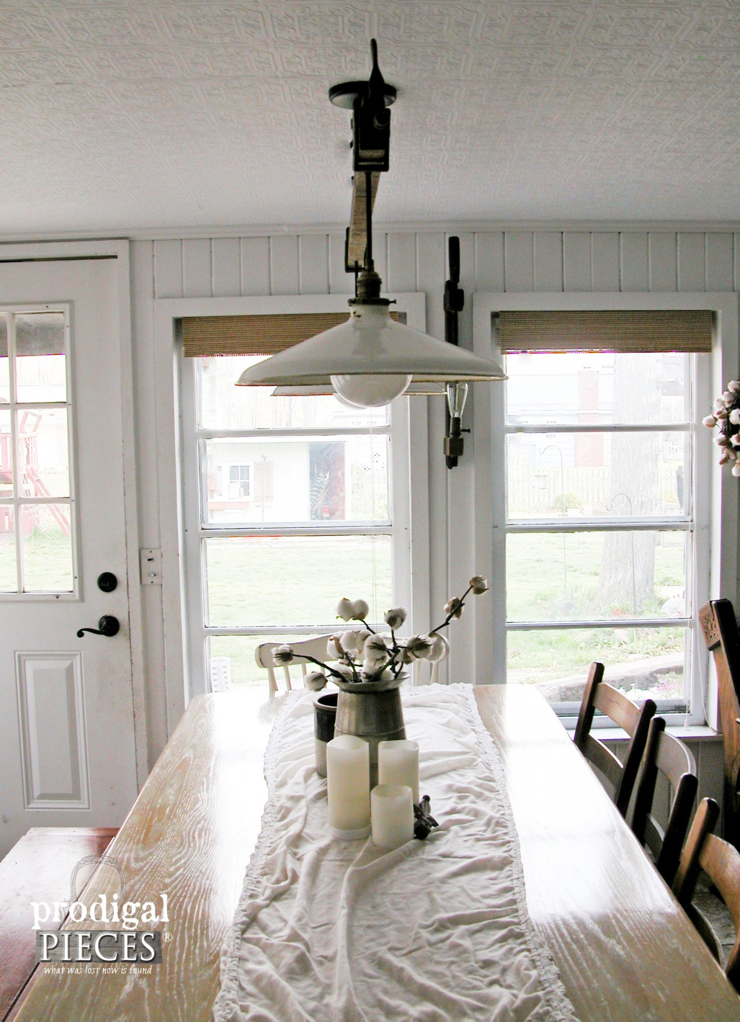Dining Table with Repurposed Farmhouse Lighting by Prodigal Pieces | www.prodigalpieces.com