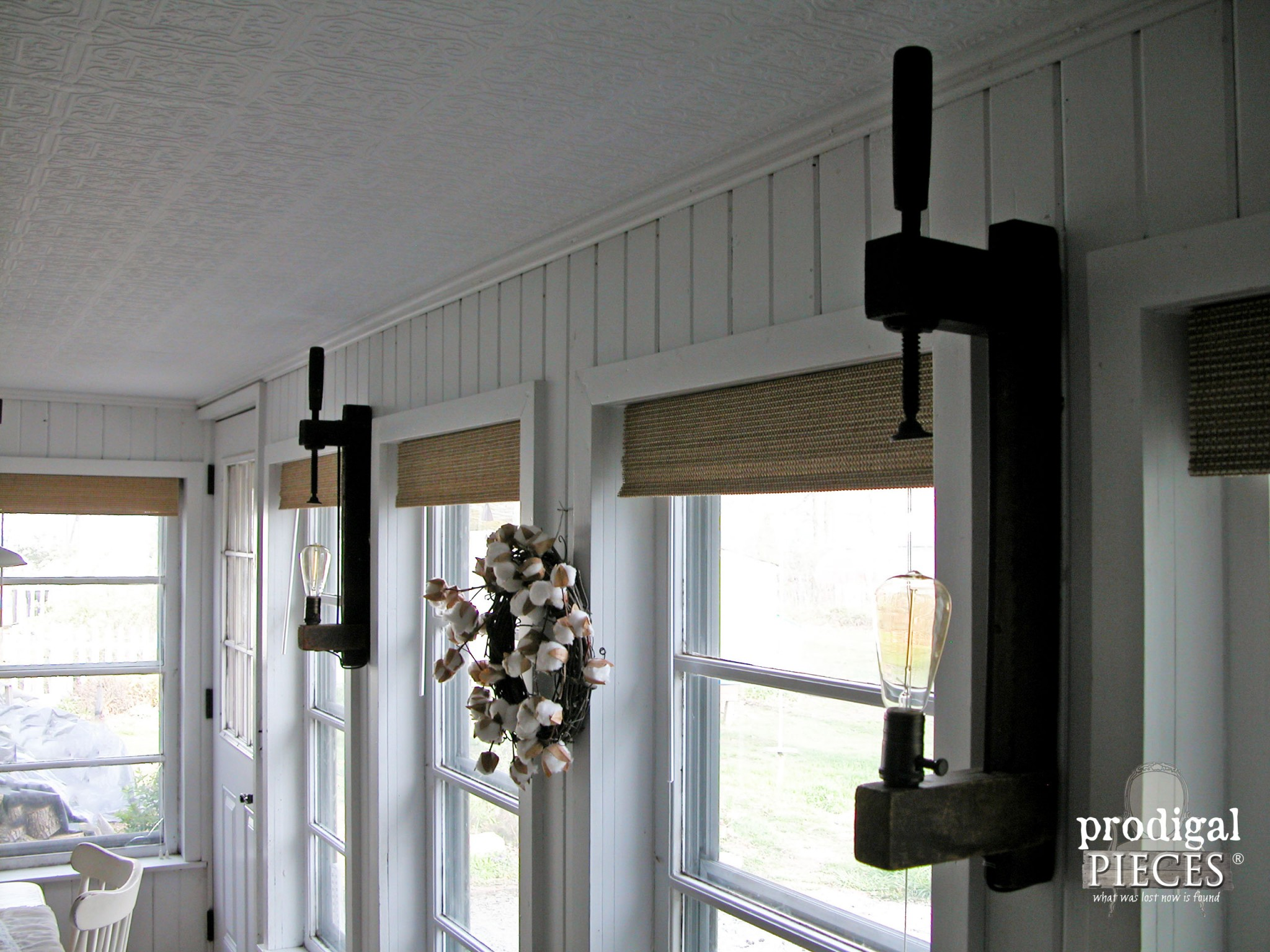 Repurposed Farm Tool Wooden Clamp as Wall Sconce by Prodigal Pieces | www.prodigalpieces.com