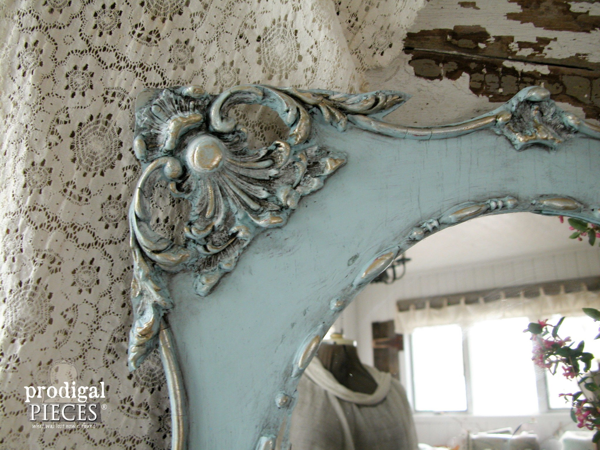 Corner of Aged Finish Mirror by Prodigal Pieces | www.prodigalpieces.com