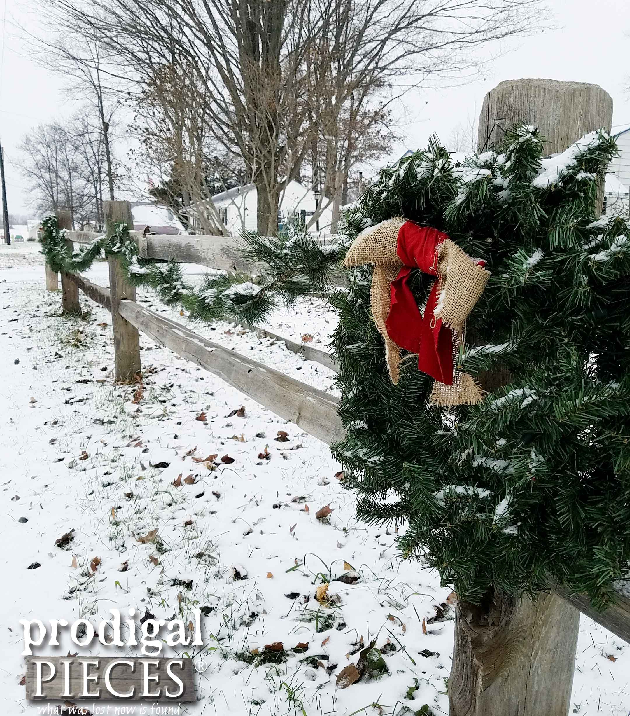 Split Rail Fence with Holiday Garland and Wreaths | Prodigal Pieces | prodigalpieces.com