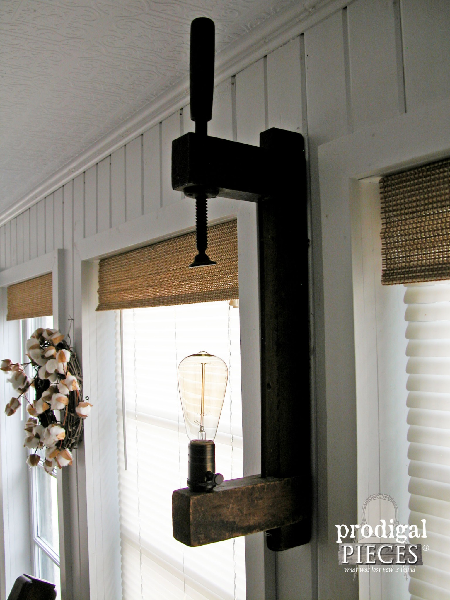 Upcycled Wooden Farmhouse Clamp as Wall Sconce by Prodigal Pieces | www.prodigalpieces.com
