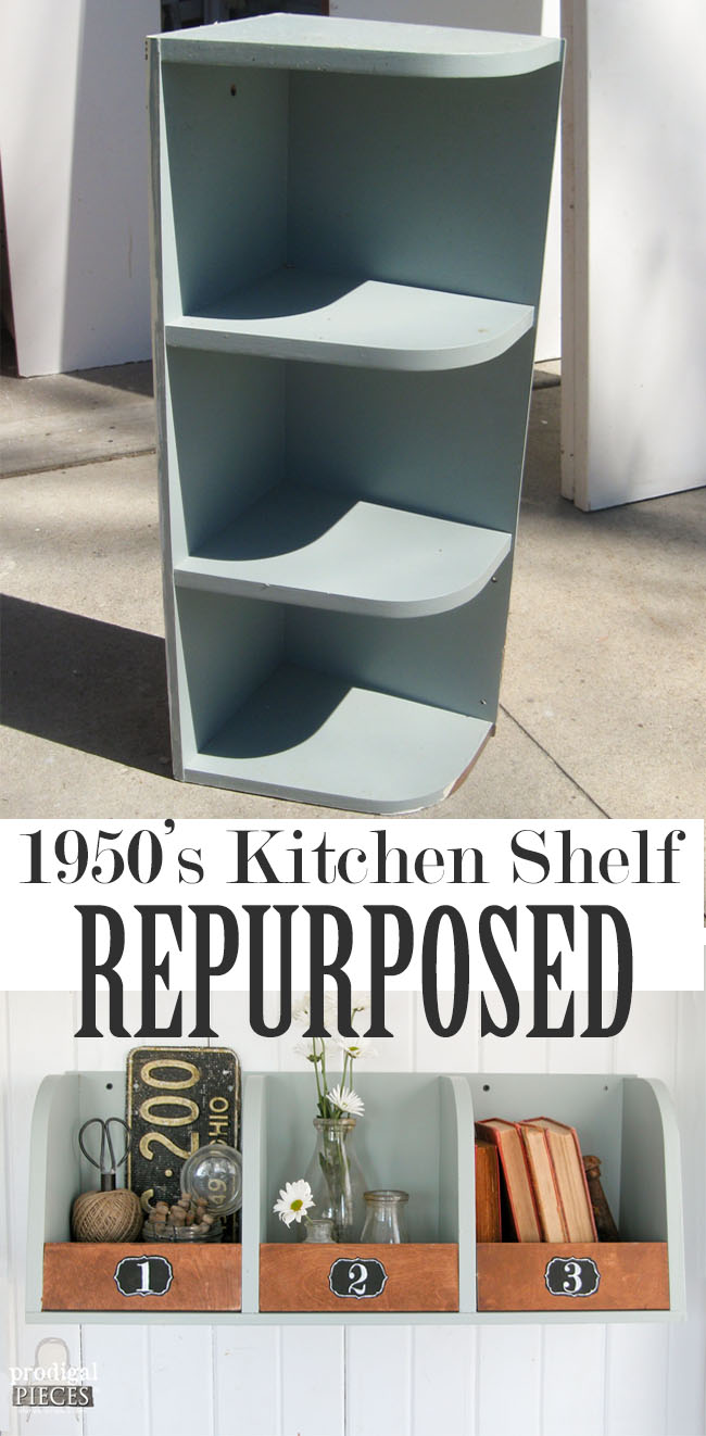 1950's Kitchen Shelf Repurposed into Rustic Storage Bins by Prodigal Pieces | prodigalpieces.com