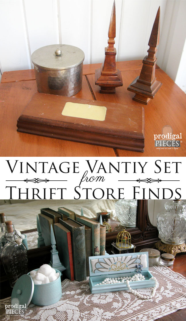 Thrifted Vanity Set Made from Vintage Finds by Prodigal Pieces | prodigalpieces.com