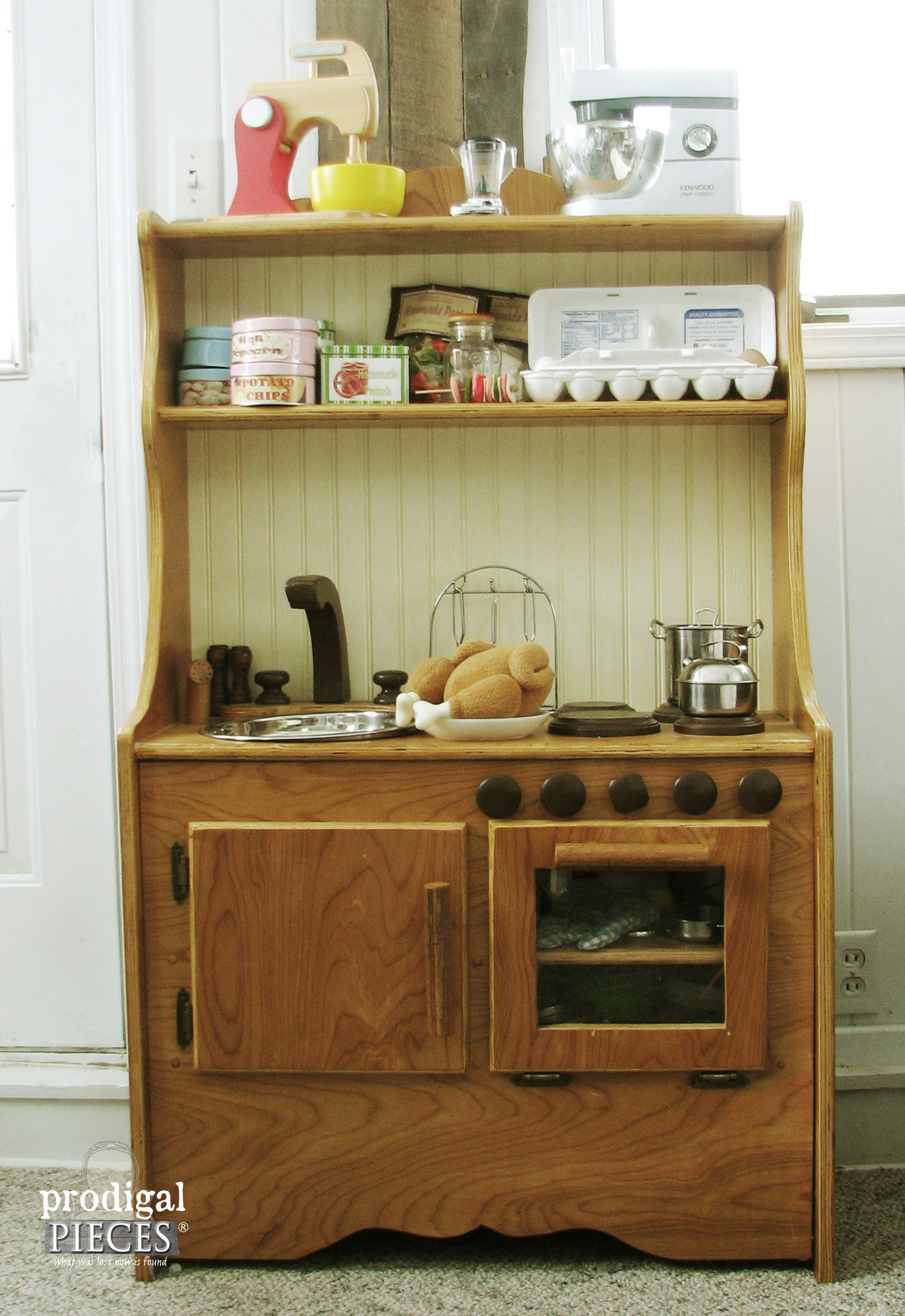Handmade Wooden Toy Pretend Play Kitchen by Prodigal Pieces | www.prodigalpieces.com