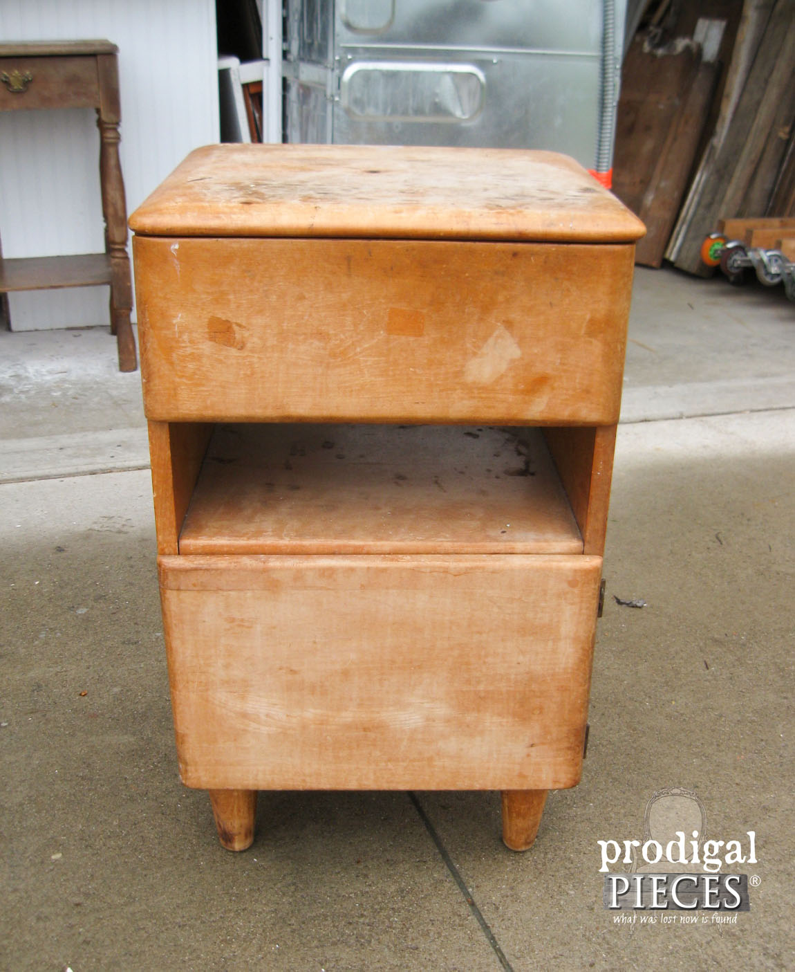 Art Deco Nightstand Before Modern Chic Makeover | Prodigal Pieces | www.prodigalpieces.com