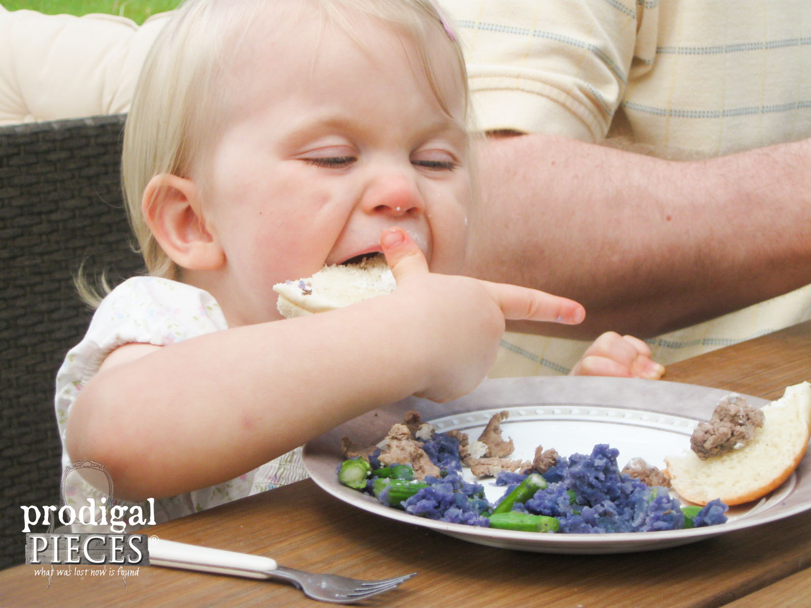 Toddler Digging in to Blue Apron Meal | Prodigal Pieces | www.prodigalpieces.com
