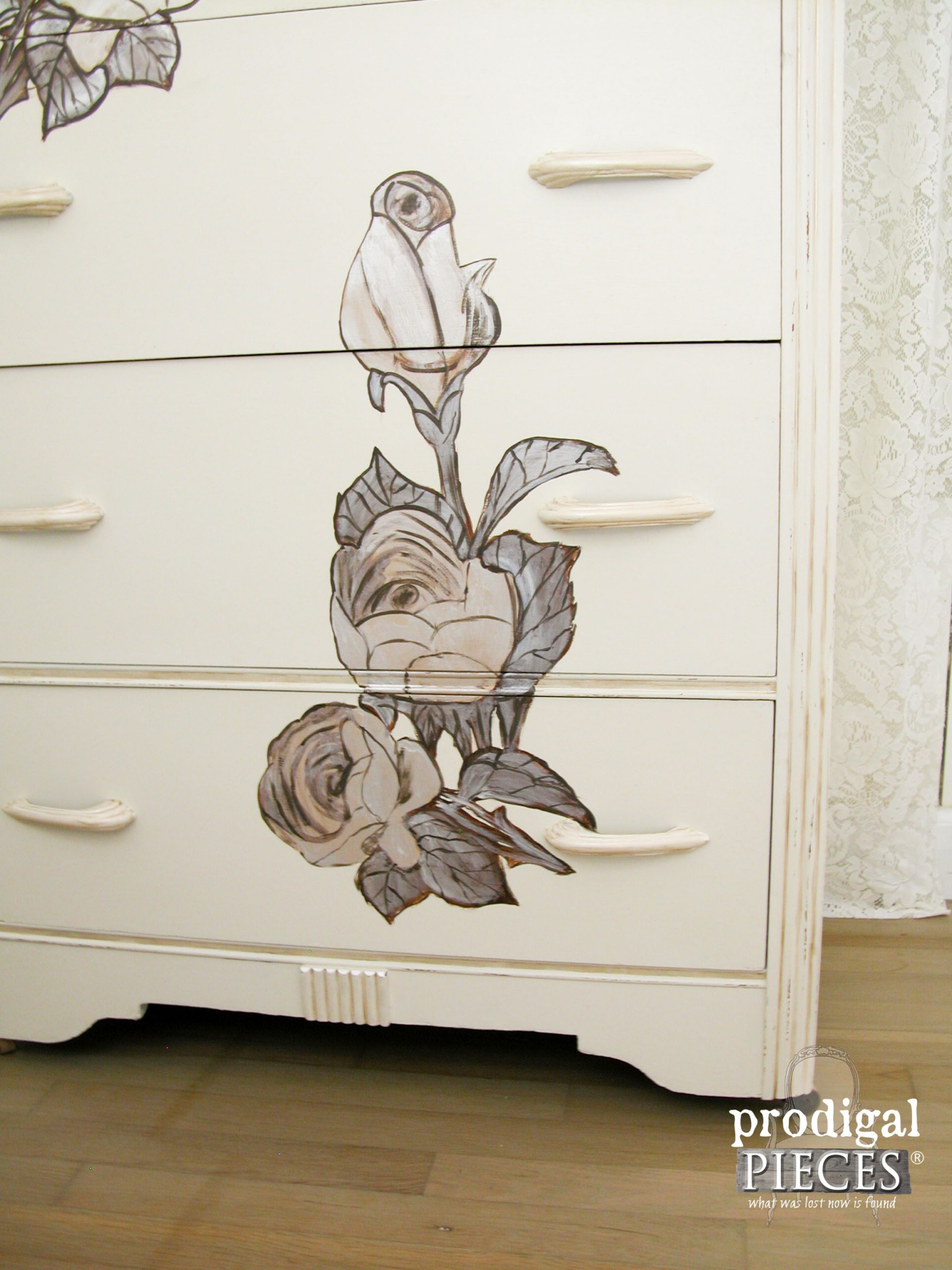 Shabby Chic Roses added to Art Deco Chest by Prodigal Pieces | www.prodigalpieces.com