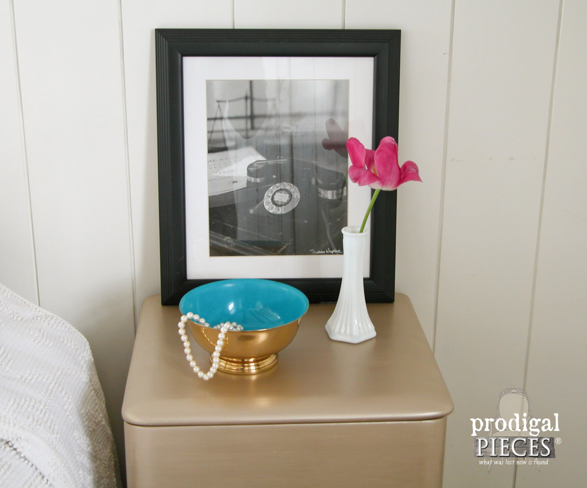 Top of Art Deco Nightstand with Vintage Finds by Prodigal Pieces | www.prodigalpieces.com