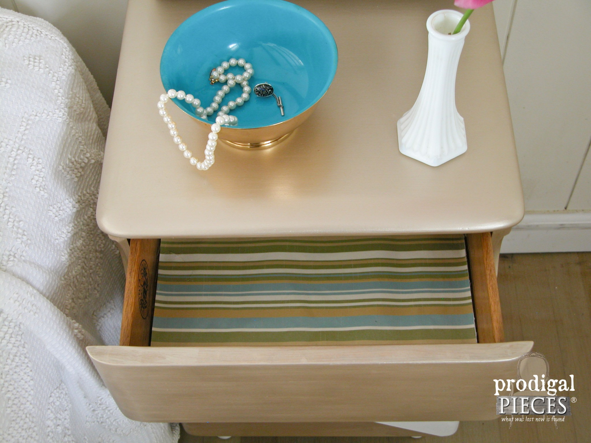 Fabric Lined Drawer of Vintage Art Deco Nighstand by Prodigal Pieces   www.prodigalpieces.com