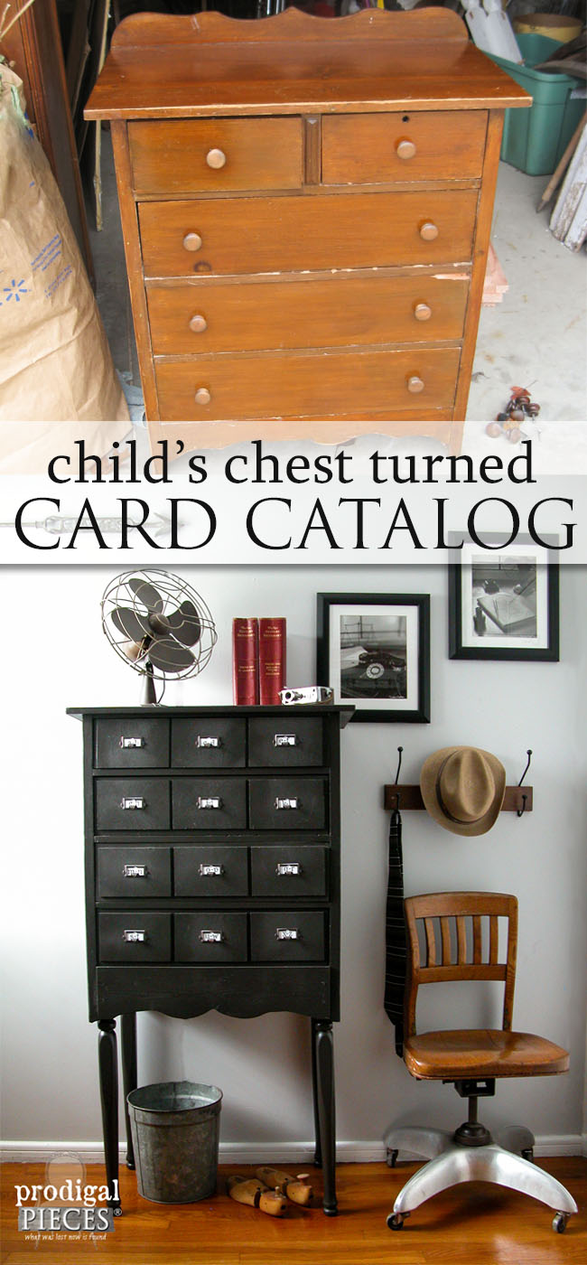 A Child's Chest of Drawers Becomes Faux Card Catalog by Prodigal Pieces | prodigalpieces.com