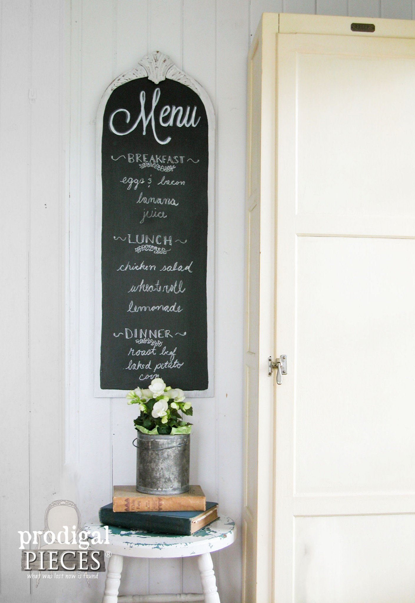 Repurposed Vanity Mirror Turned Chalkboard Menu with Tutorial by Prodigal Pieces | www.prodigalpieces.com
