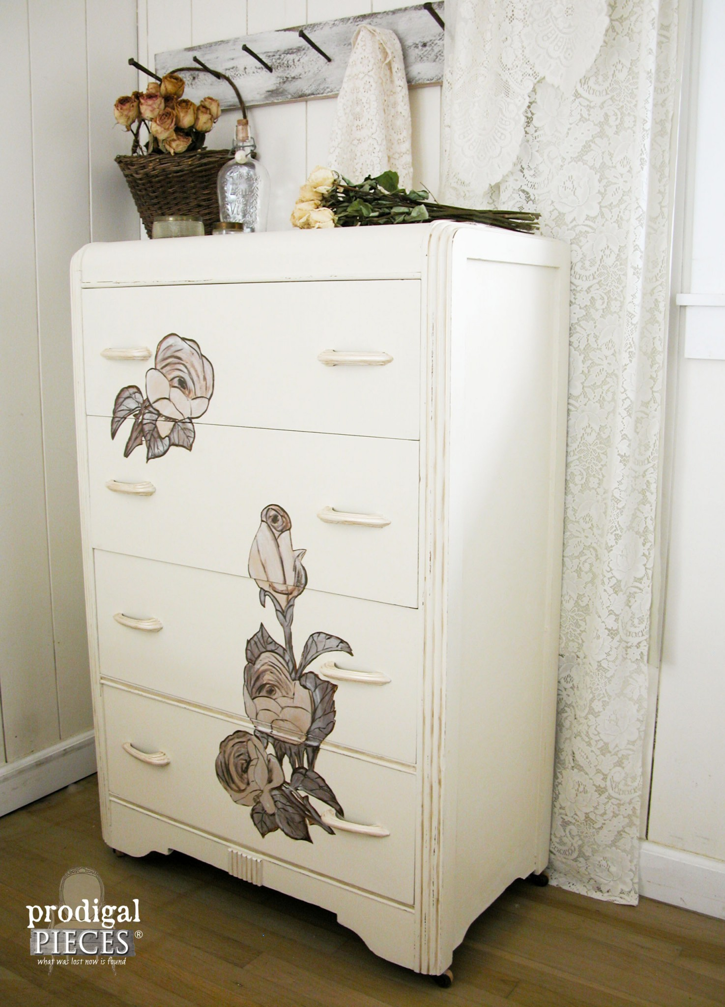 Side View of Shabby Chic Chest of Drawers by Prodigal Pieces | www.prodigalpieces.com