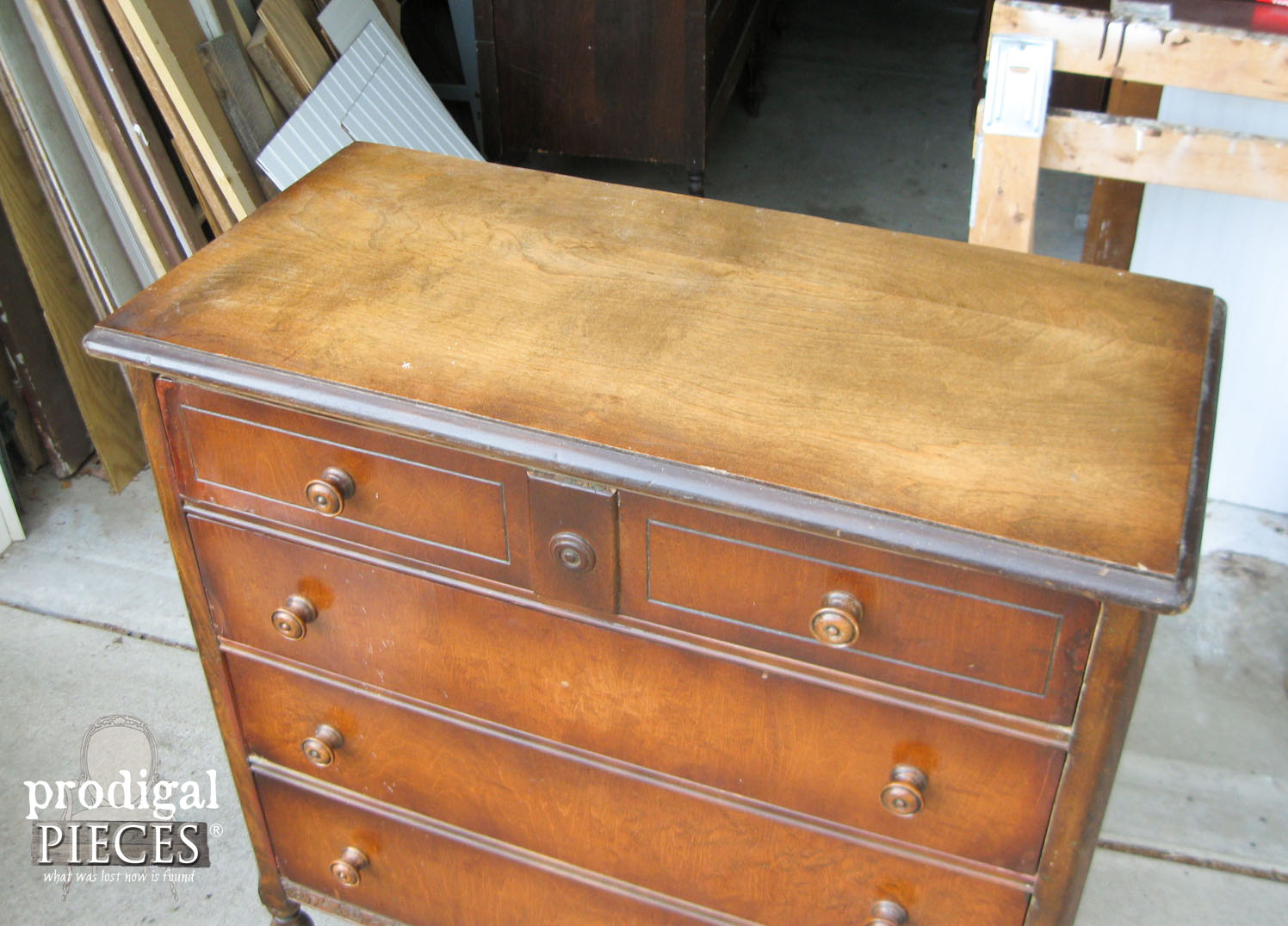 Top of Vintage Chest of Drawers for Distressing | Prodigal Pieces | www.prodigalpieces.com