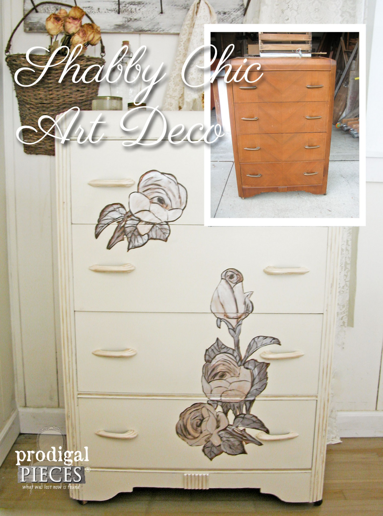 Adding Shabby Chic Details to Art Deco Chest of Drawers | Prodigal Pieces | www.prodigalpieces.com