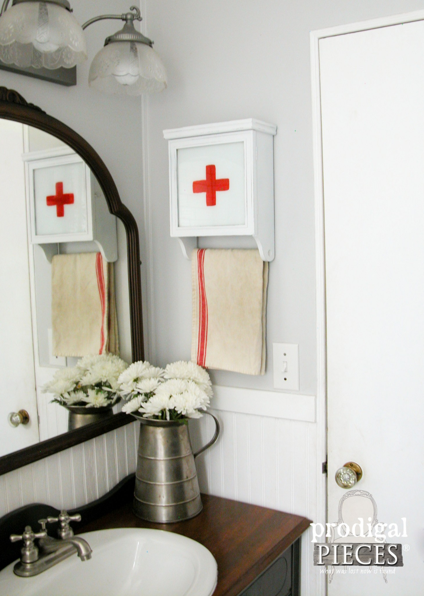 Repurposed Wall Clock into Swiss Medical Cabinet by Prodigal Pieces | www.prodigalpieces.com