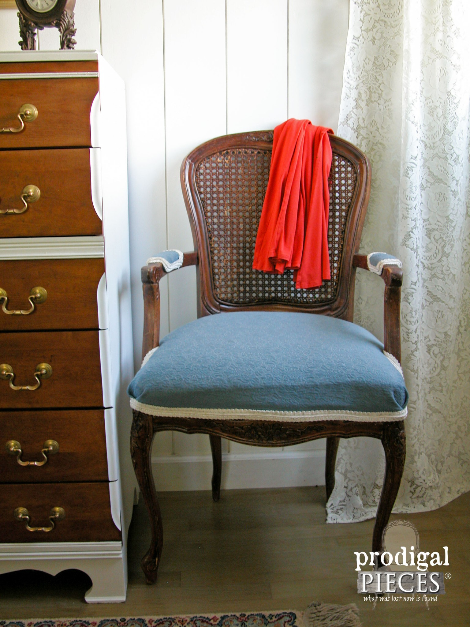 Vintage Caned and Upholstered Queen Anne Style Chair with Blue Accents by Prodigal Pieces | www.prodigalpieces.com