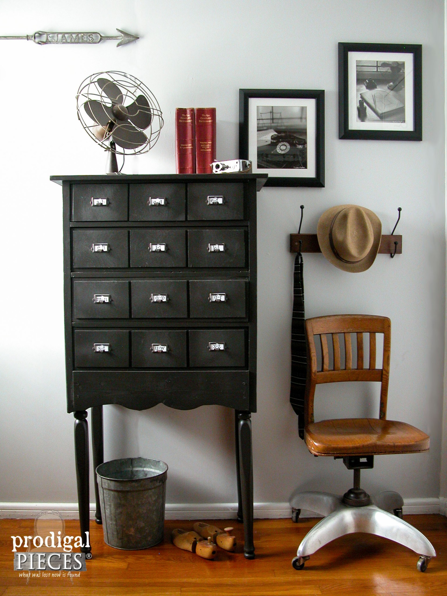 Faux Vintage Card Catalog Made from Repurposed Child's Chest of Drawers by Prodigal Pieces | www.prodigalpieces.com