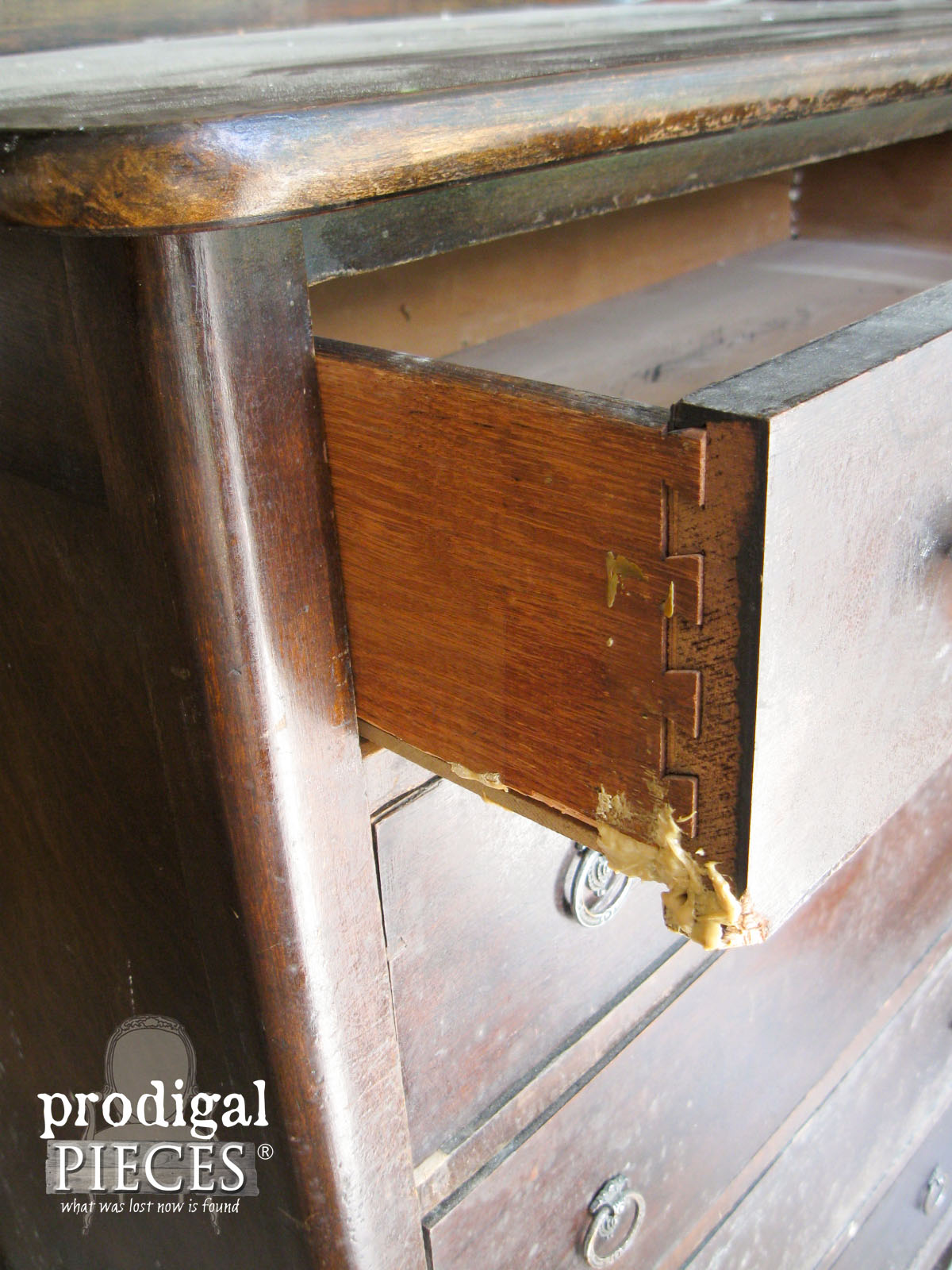 Damaged Drawers on Antique Chest of Drawers | Prodigal Pieces | www.prodigapieces.com