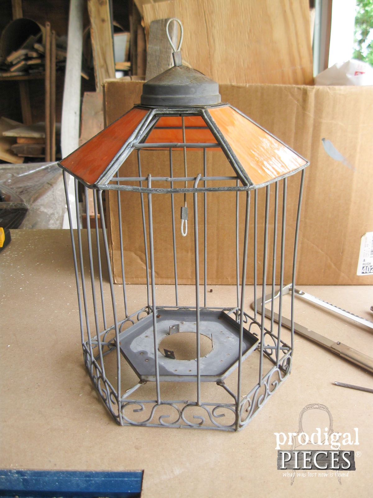 Broken Stained Glass Bird Feeder Before Repurposing | Prodigal Pieces | www.prodigalpieces.com