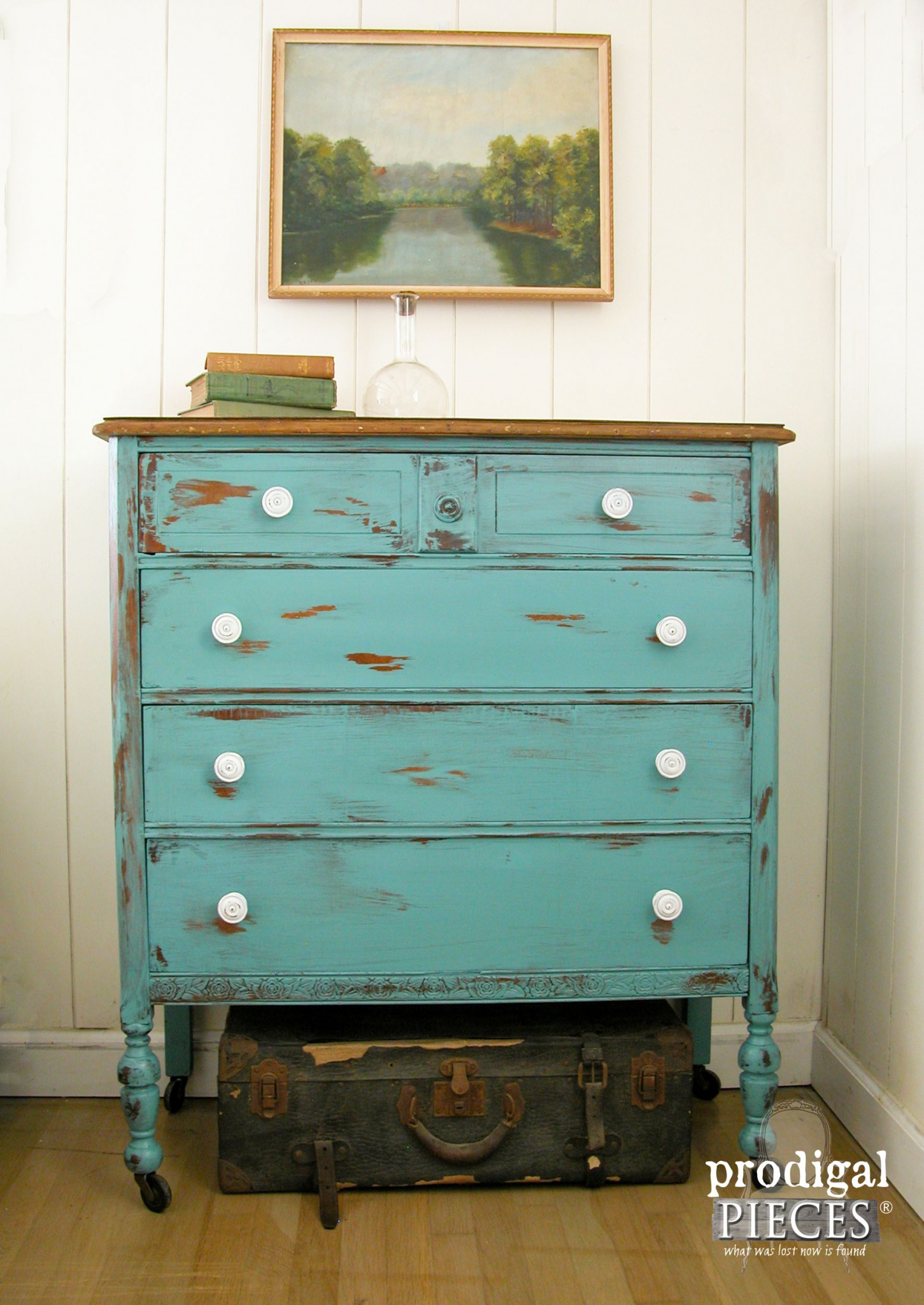 Get the Look of Distressed Paint with Petroleum Jelly | Aqua Teal Chest of Drawers by Prodigal Pieces | www.prodigalpieces.com