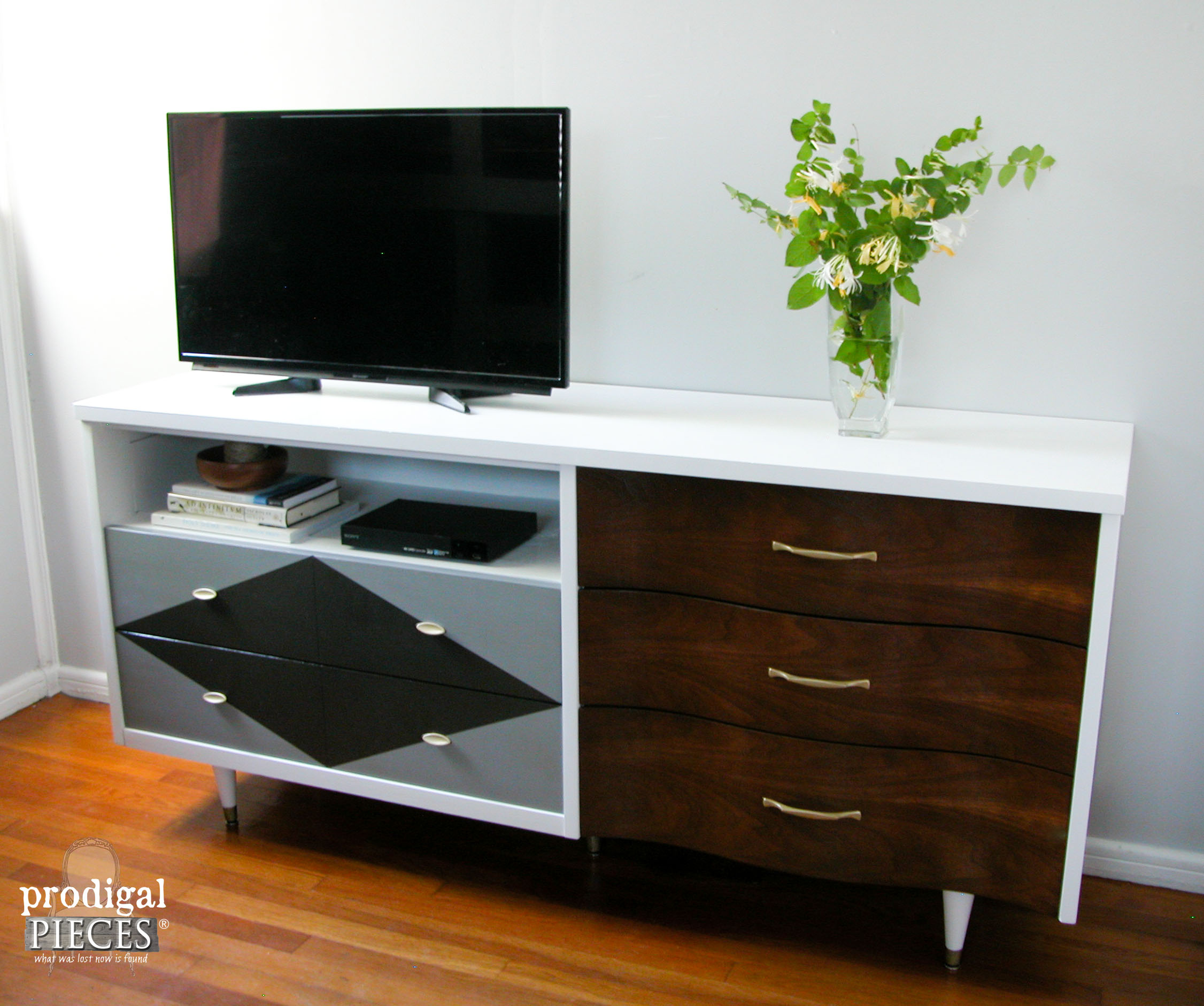 Modern Style Entertainment Console from Mid Century Credenza found Curbside by Prodigal Pieces | www.prodigalpieces.com