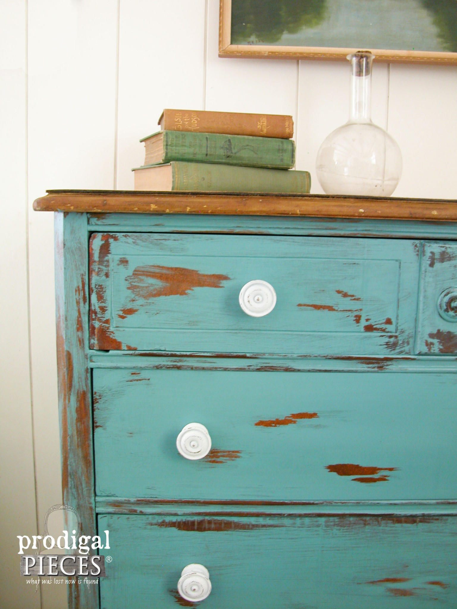 Distressed Vintage Chest with Teal Paint using Petroleum Jelly by Prodigal Pieces | www.prodigalpieces.com