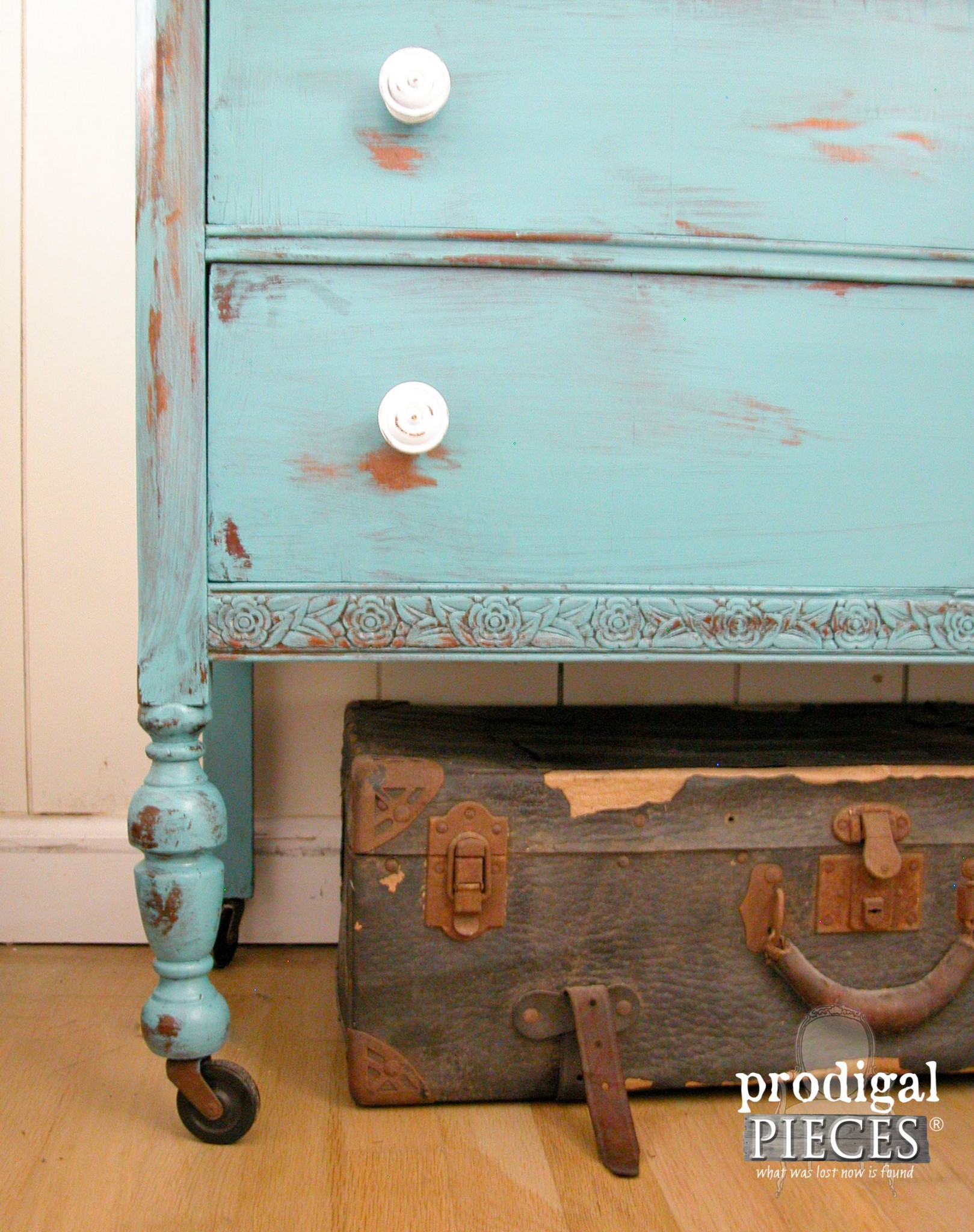 Leg of Teal Vintage Chest of Drawers with Distressing by Prodigal Pieces | www.prodigalpieces.com