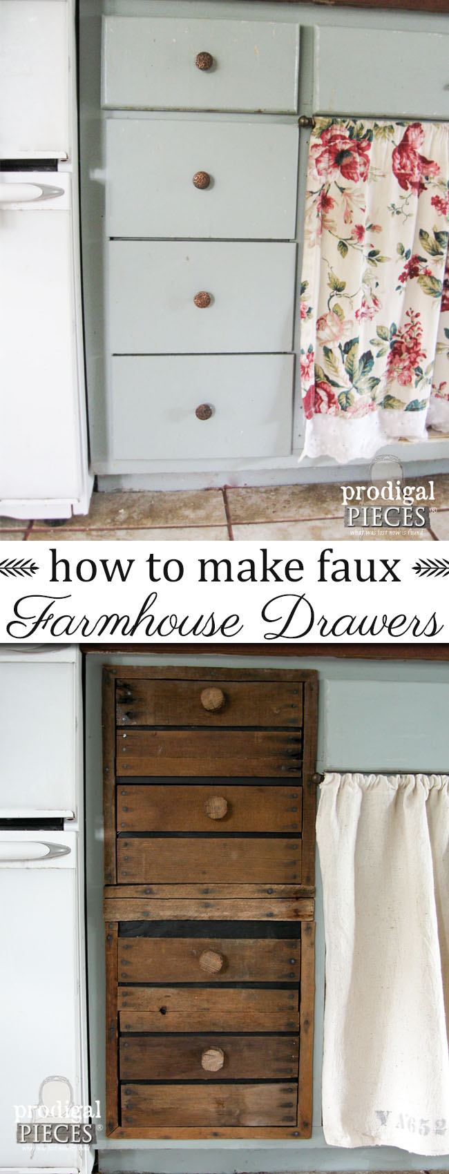 How to Make Farmhouse Style Rustic Faux Crate Drawers by Prodigal Pieces | www.prodigalpieces.com