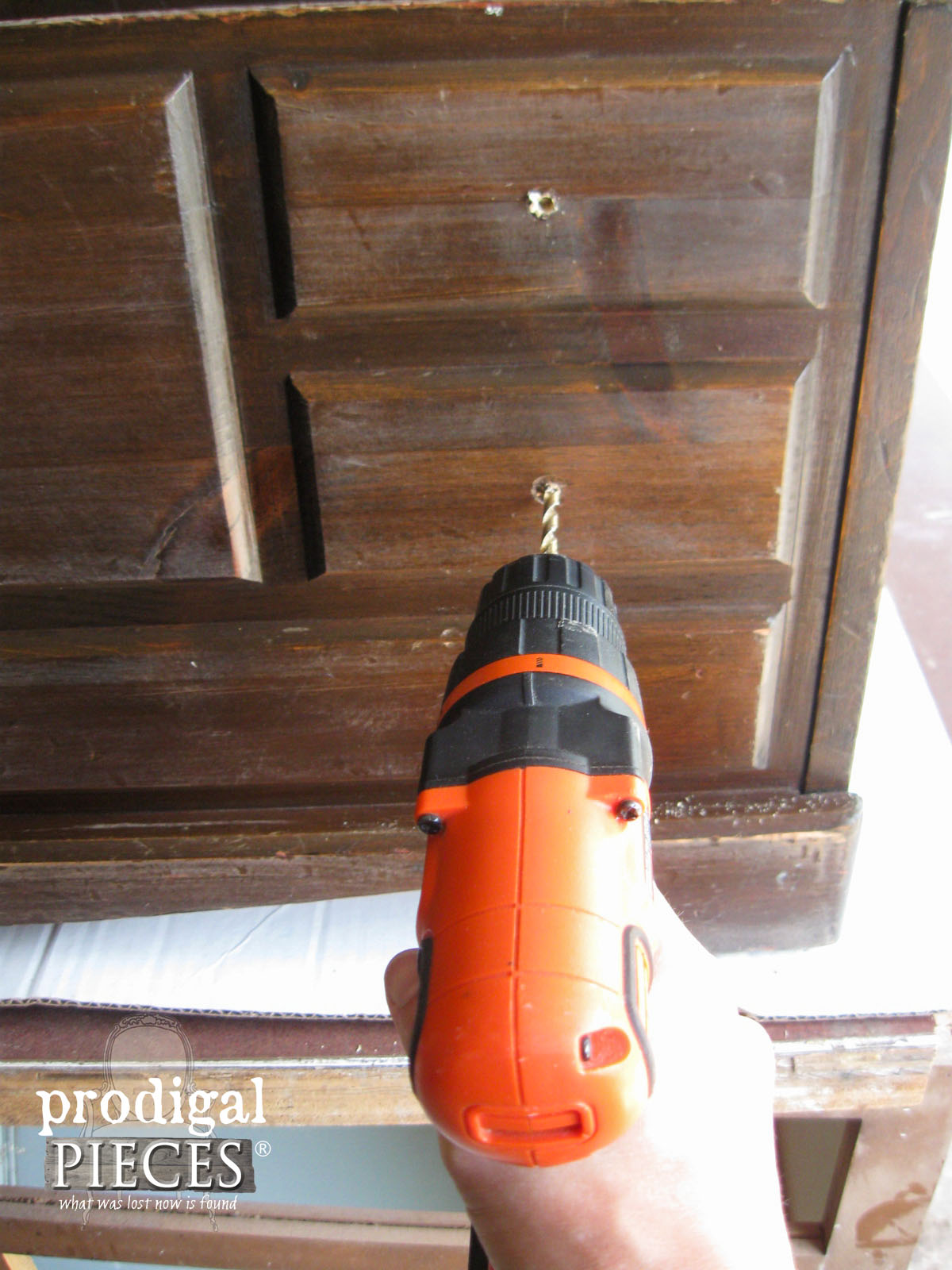 Drilling New Knob Holes with Cordless Drill | www.prodigalpieces.com