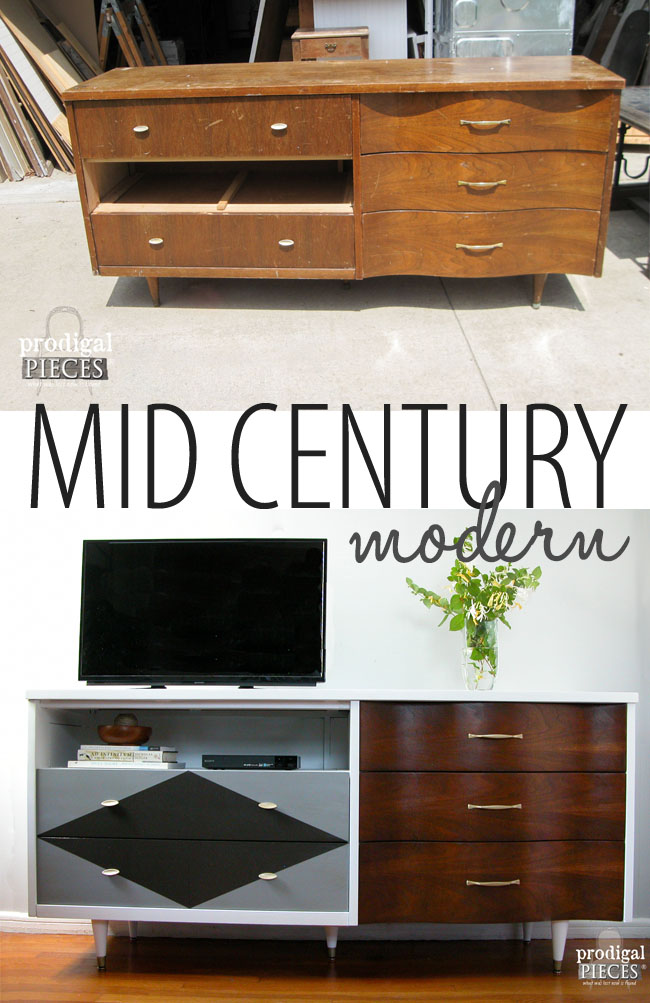 Mid Century Credenza Found Curbside Becomes Entertainment Console by Prodigal Pieces | www.prodigalpieces.com