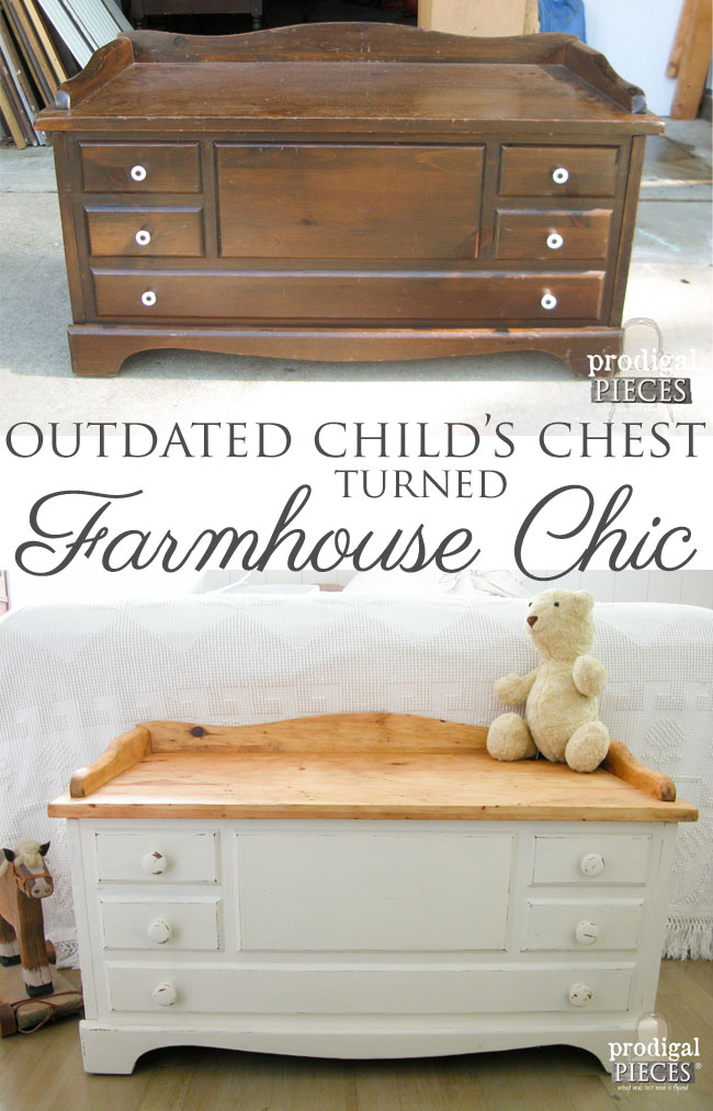 Outdated Child's Wooden Chest Gets Farmhouse Chic Makeover by Prodigal Pieces | www.prodigalpieces.com