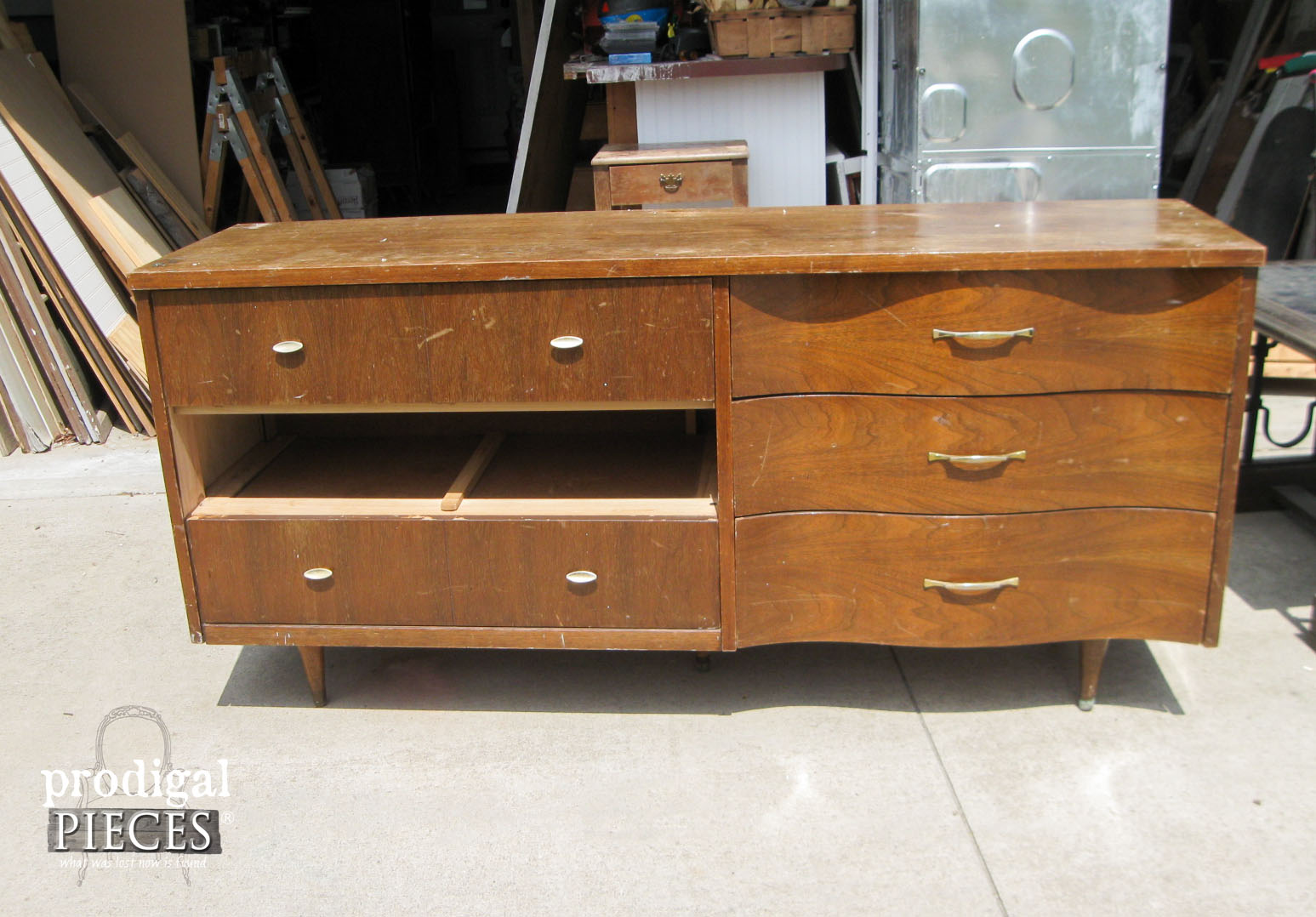 Curbside Mid Century Modern Crredenza Before Entertainment Console | Prodigal Pieces | www.prodigalpieces.com