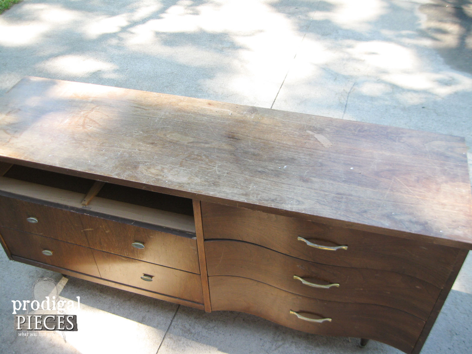 Badly Worn Top of Mid Century Credenza | Prodigal Pieces | www.prodigalpieces.com