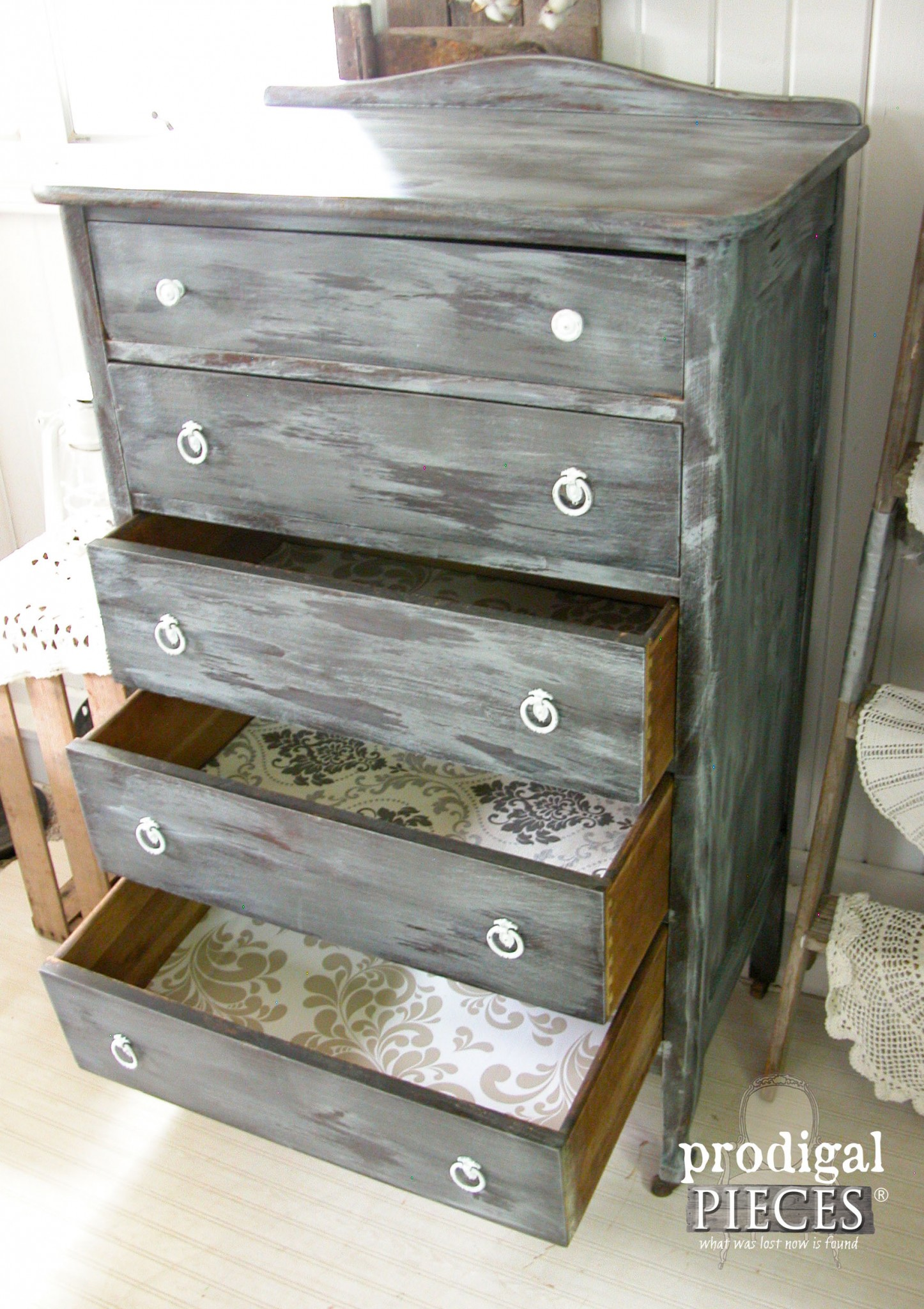 Open Chest of Drawers Showcasing Wallpaper Lining and Wet Distressing by Prodigal Pieces | www.prodigalpieces.com