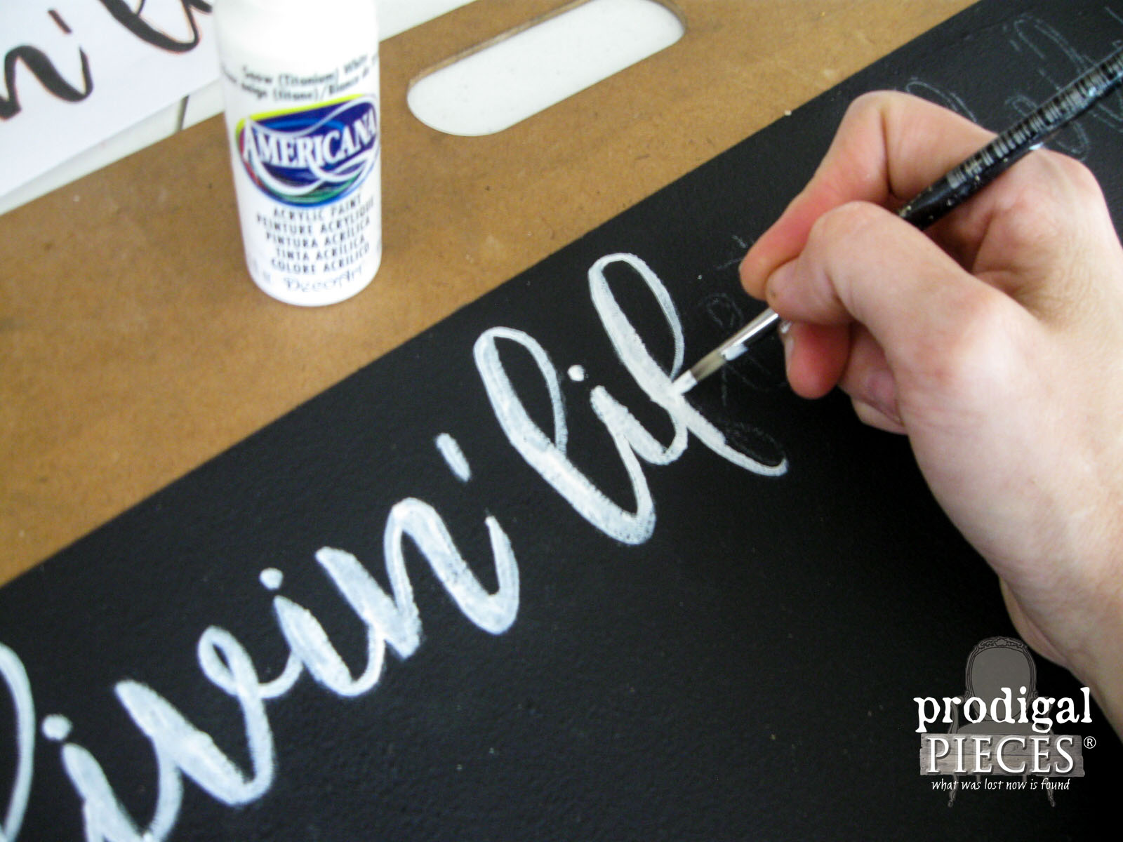 Hand-painting Text on Message Board | Prodigal Pieces | www.prodigalpieces.com