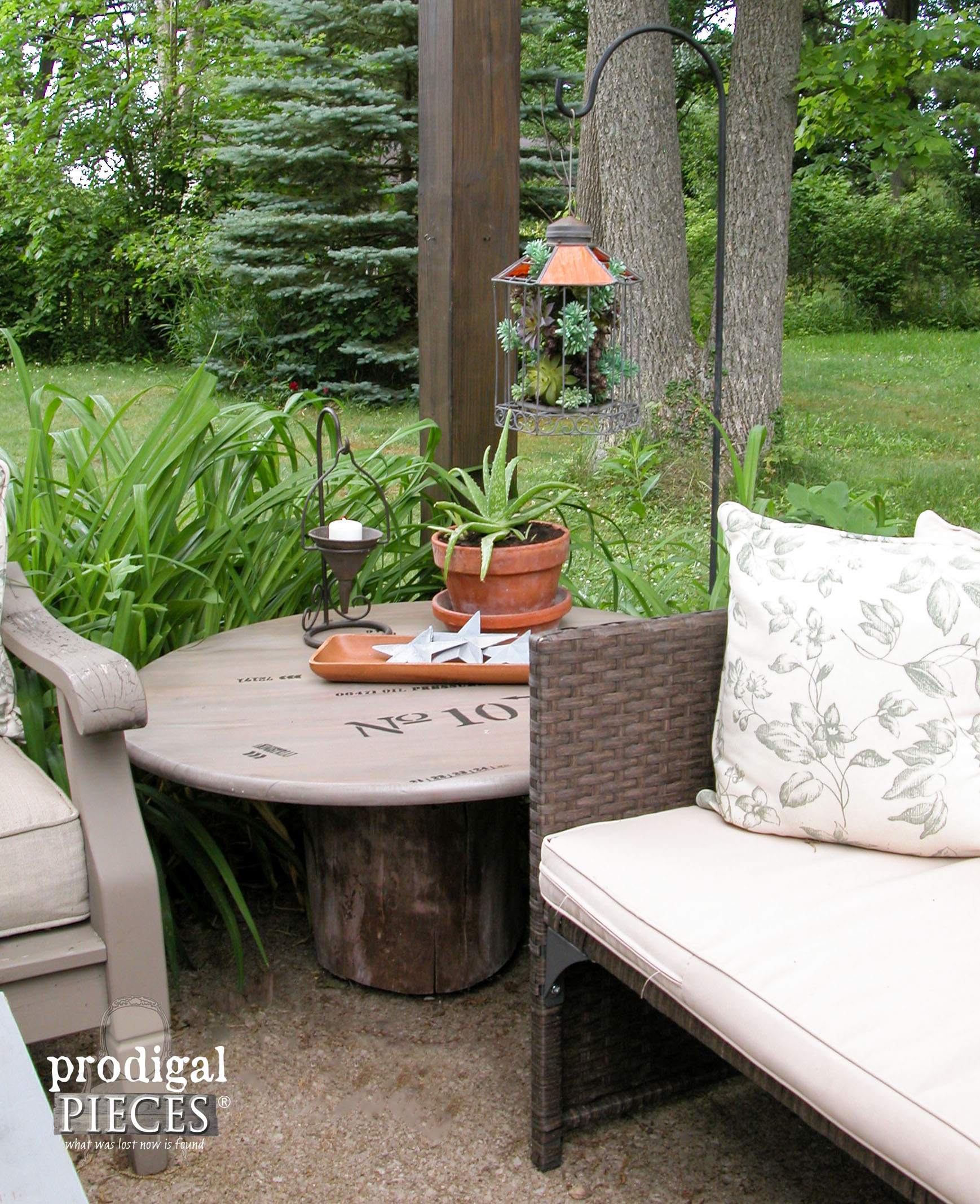 Rustic Patio with Faux Succulent Planter by Prodigal Pieces | www.prodigalpieces.com