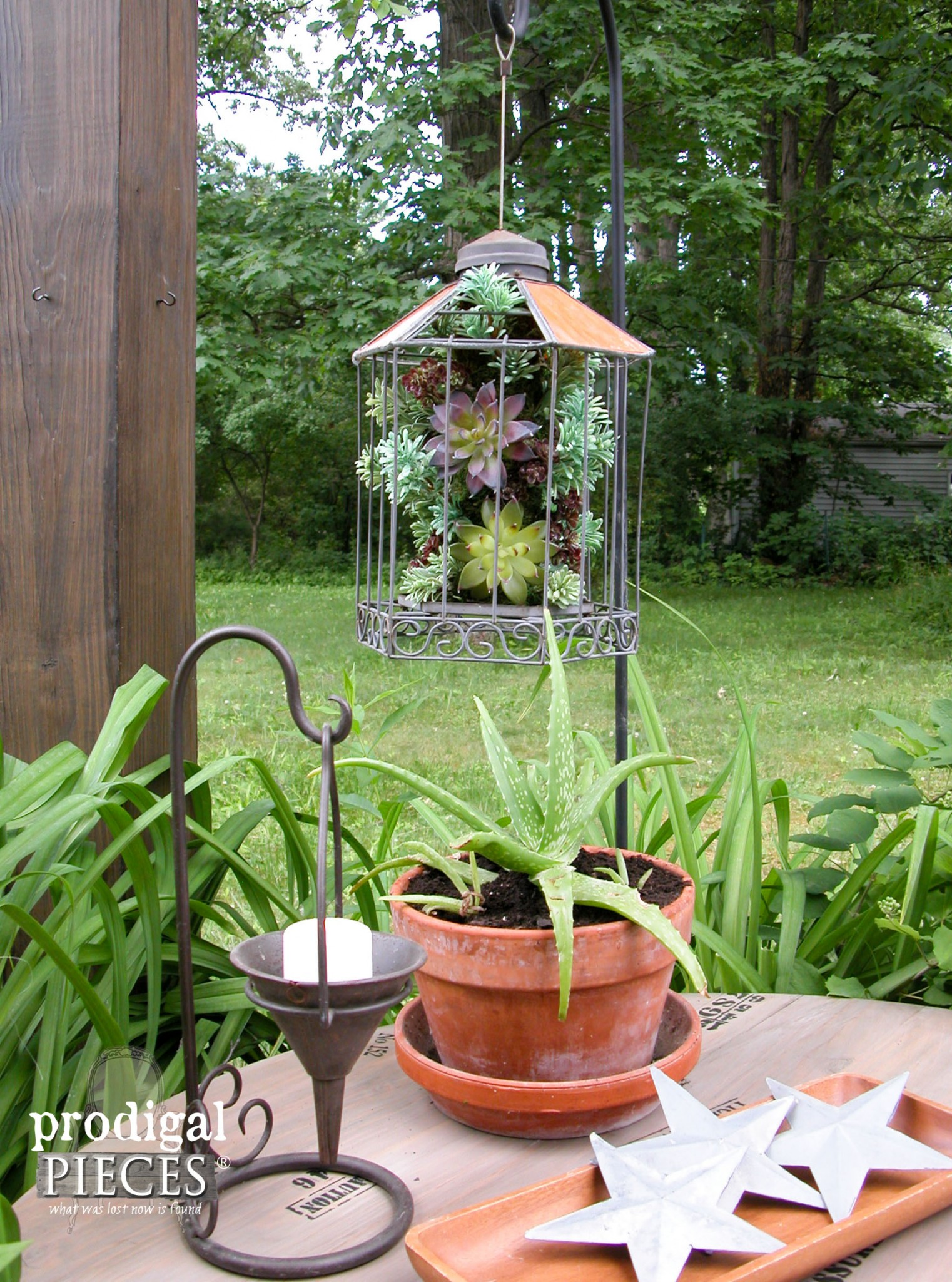 Patio Succulent Planter Made from Broken Bird Feeder by Prodigal Pieces | www.prodigalpieces.com