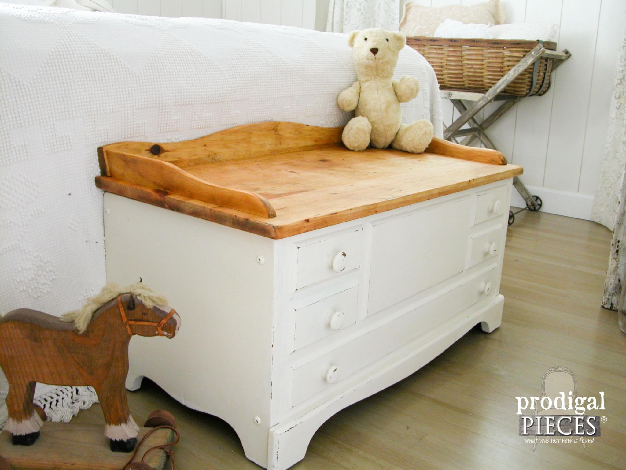 Side of Farmhouse Chic Child's Chest by Prodigal Pieces | www.prodigalpieces.com