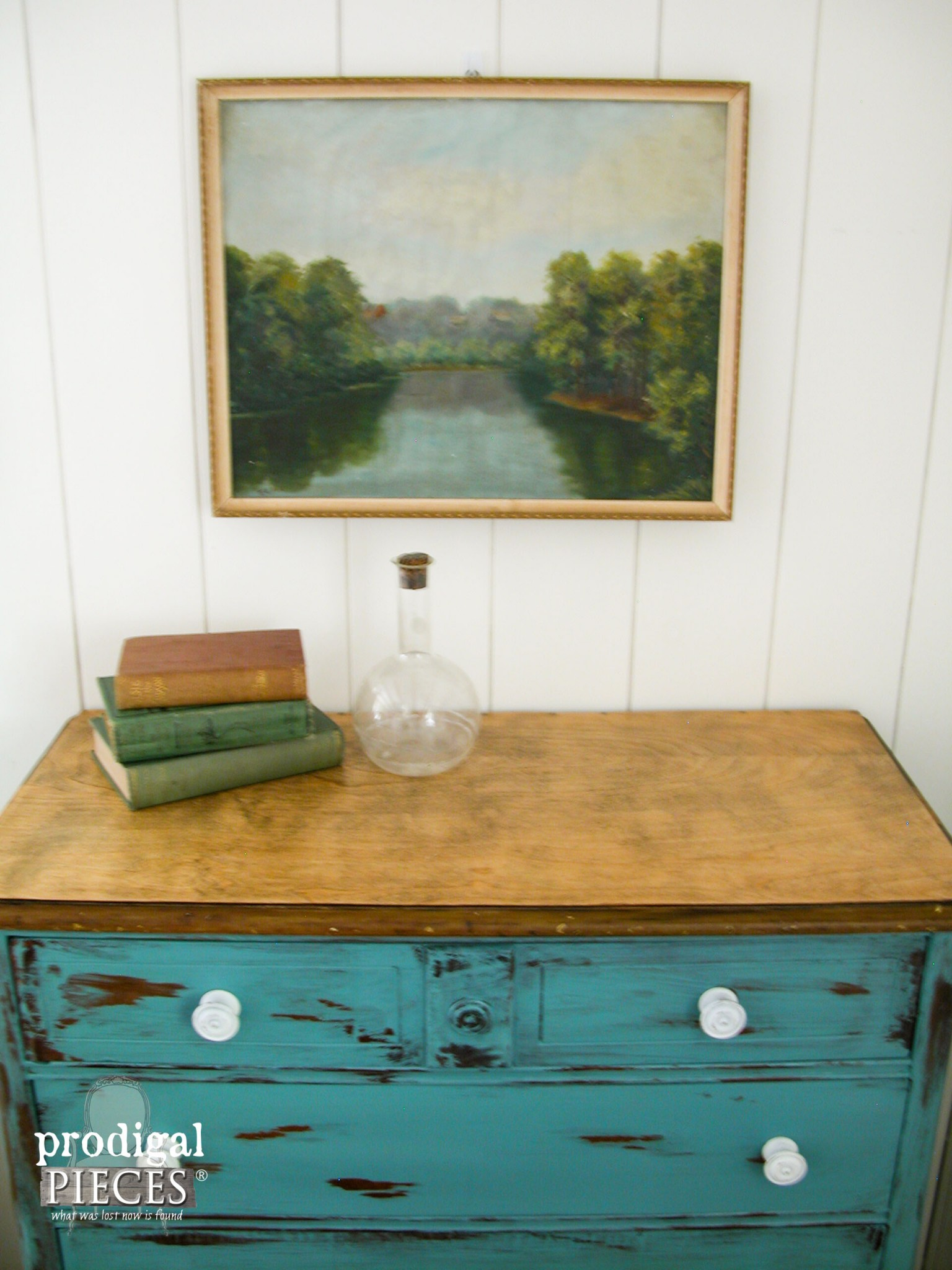 Top of Teal Chest Refinished with Pastoral Painting Above by Prodigal Pieces | www.prodigalpieces.com