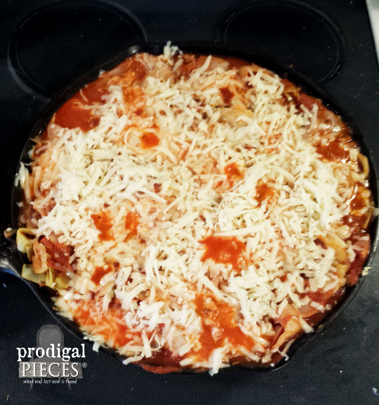 Topping Cabbage Skillet Pizza with Cheese | Prodigal Pieces | www.prodigalpieces.com