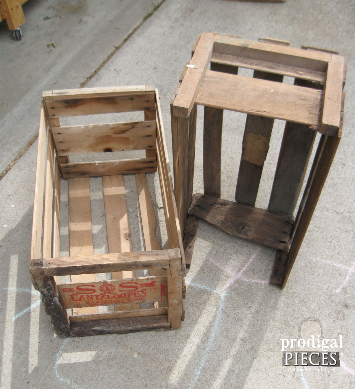 Pair of Old Vintage Farmhouse Crates | Prodigal Pieces | www.prodigalpieces.com